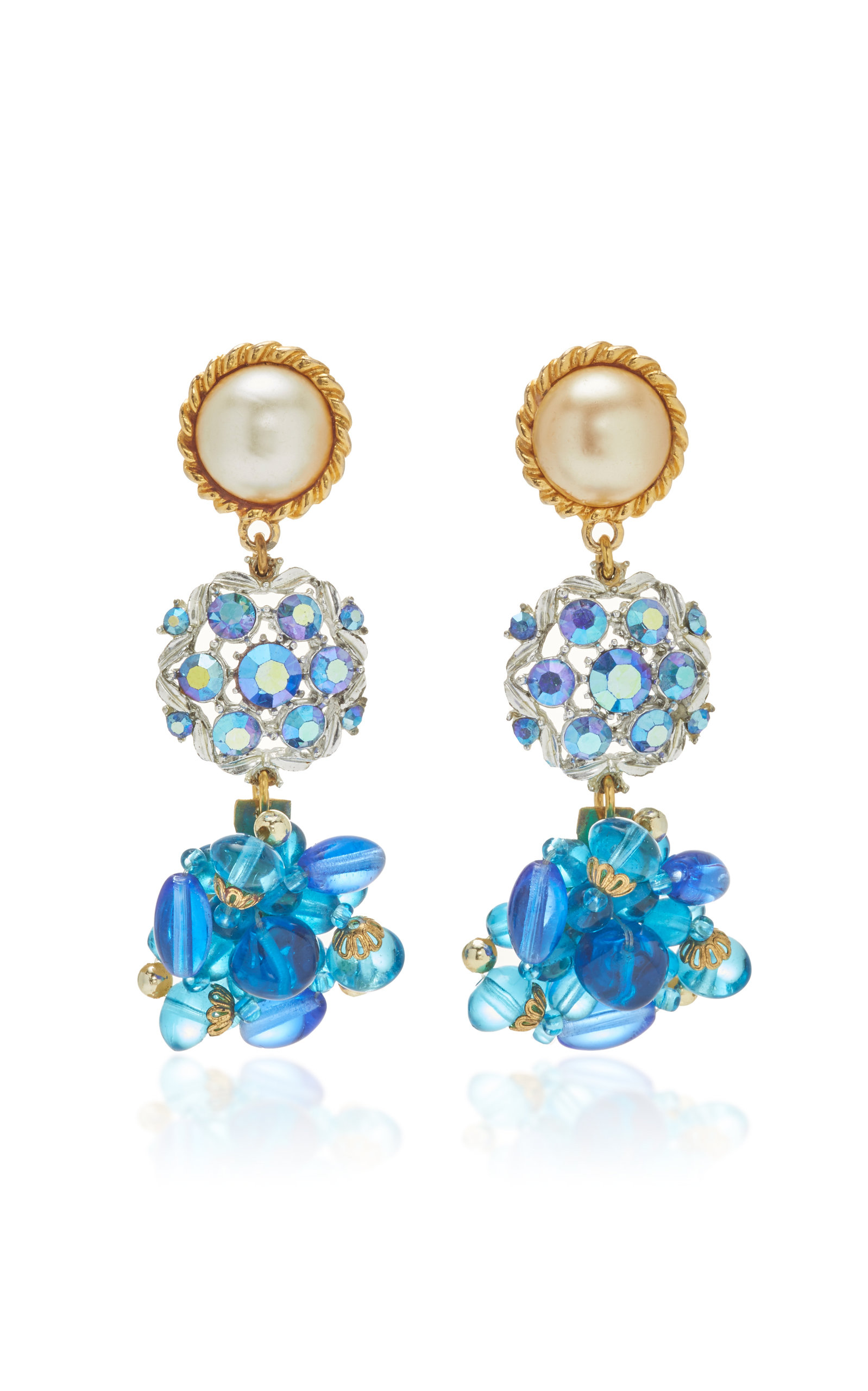 LULU FROST ONE-OF-A-KIND PEARL AND AURORA BOREALIS FLORAL EARRING