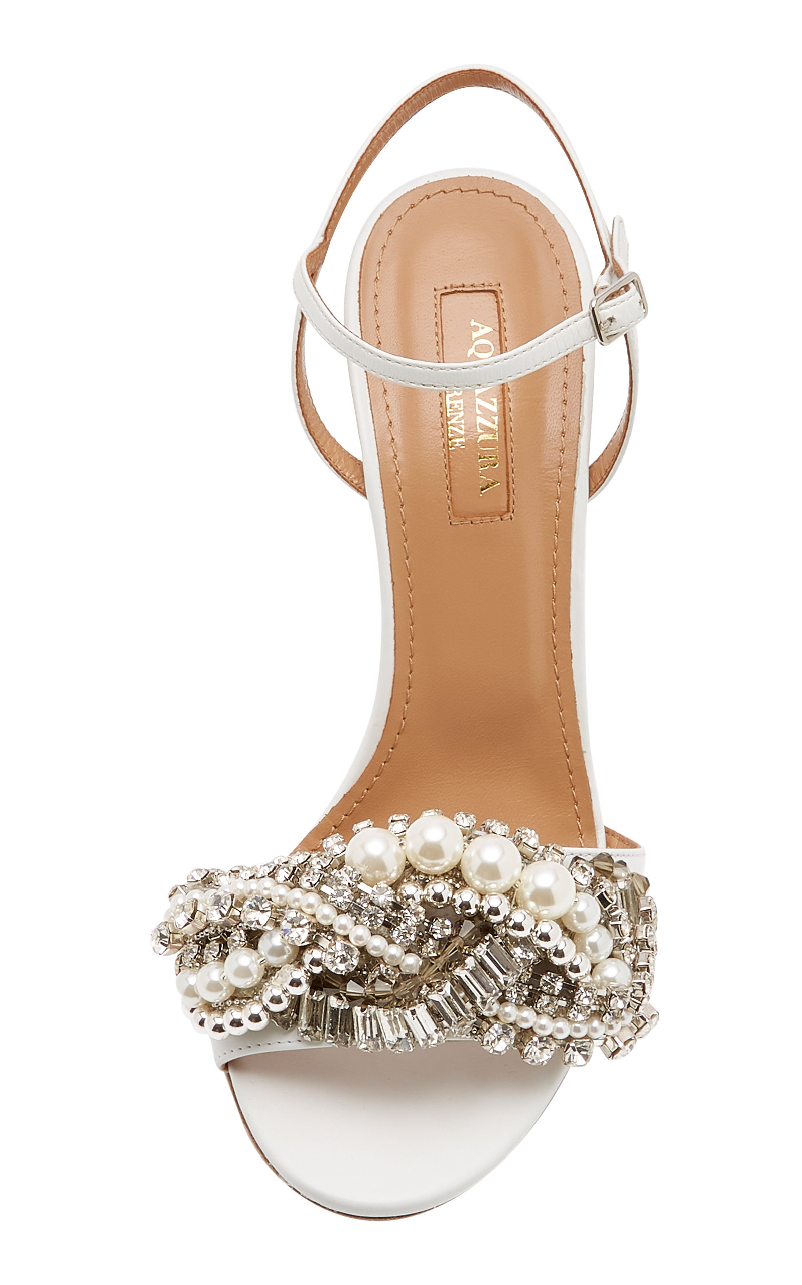 1293c90dd AquazzuraWild Chain Crystal and Faux Pearl-Embellished Leather Sandals.  CLOSE. Loading. Loading