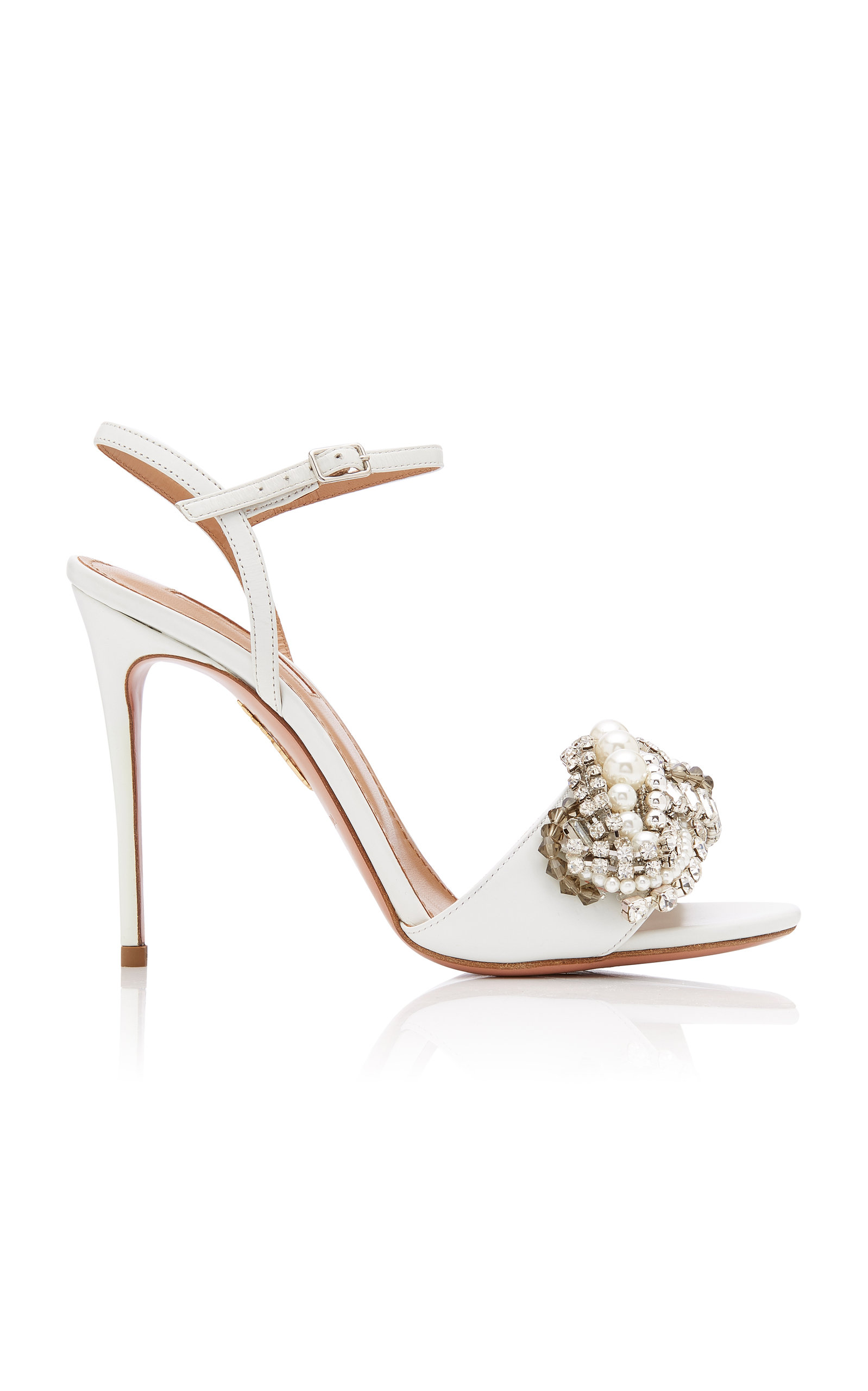 Wild Chain Crystal and Faux Pearl-Embellished Leather Sandals by ...