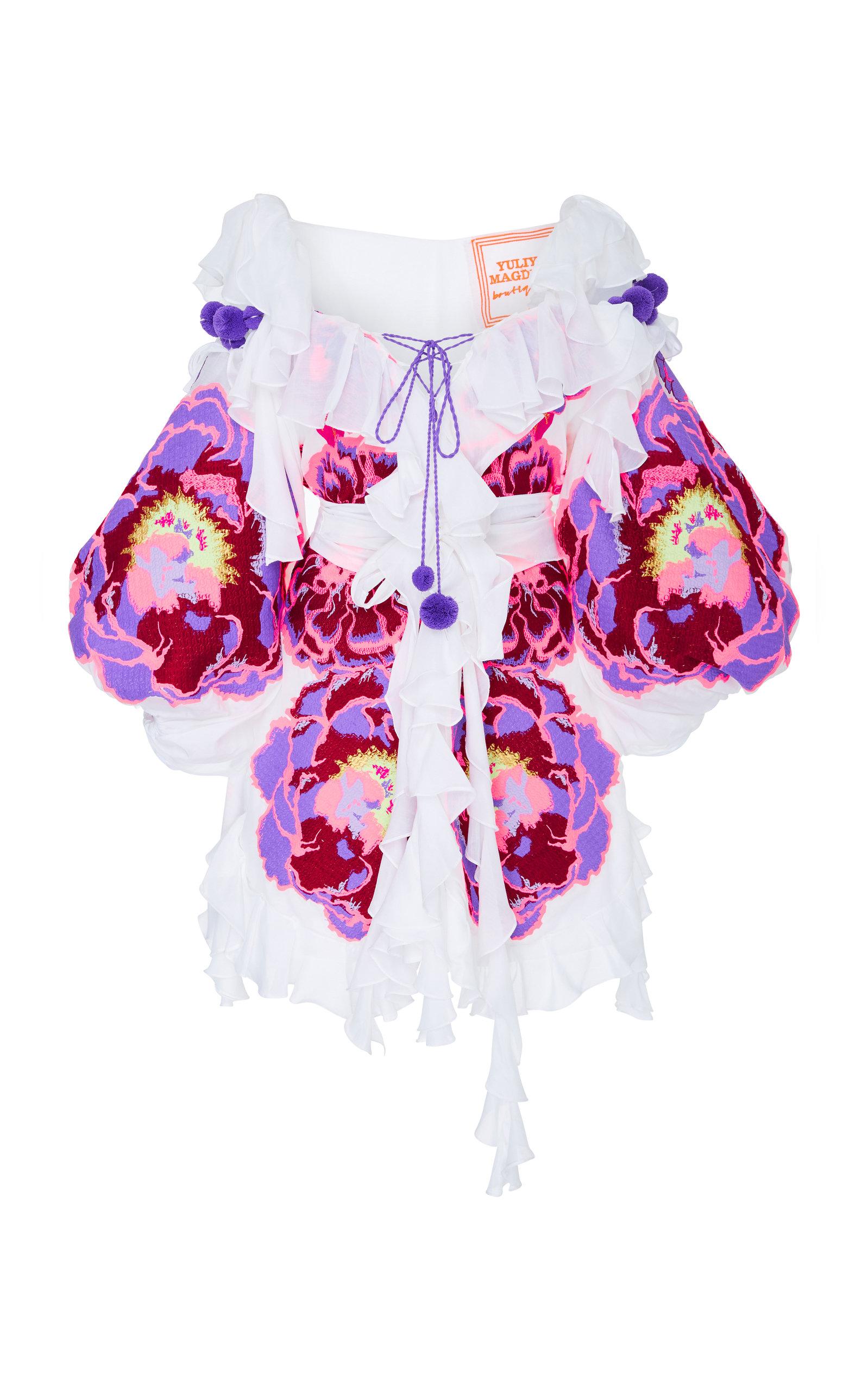YULIYA MAGDYCH MARIGOLD EMBROIDERED COTTON AND SILK RUFFLE DRESS