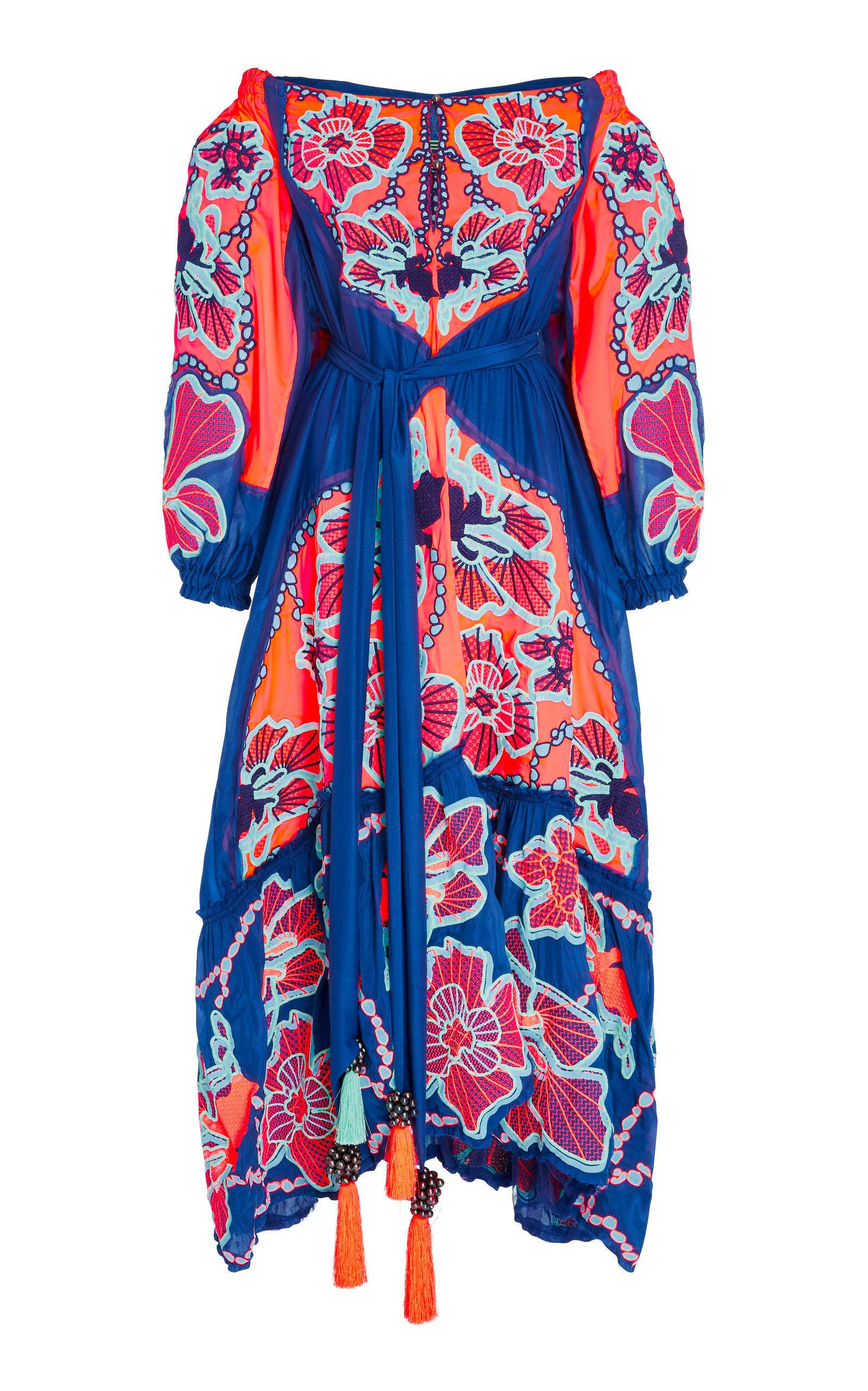YULIYA MAGDYCH WEB LACE EMBROIDERED SILK DRESS