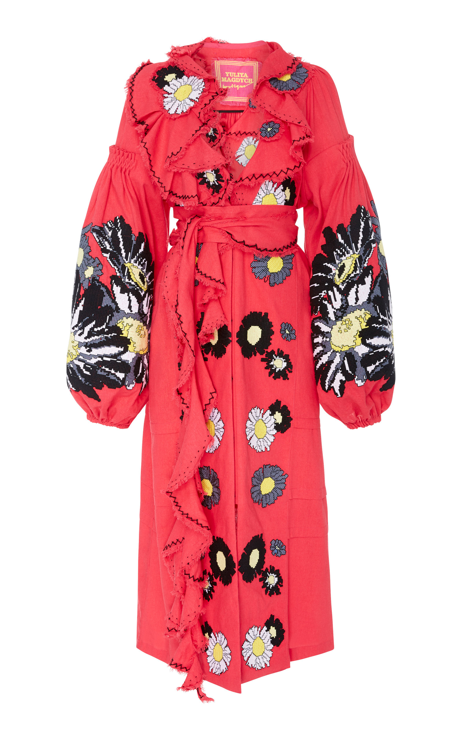 YULIYA MAGDYCH LOVES ME LOVES ME NOT EMBROIDERED LINEN MIDI CAFTAN