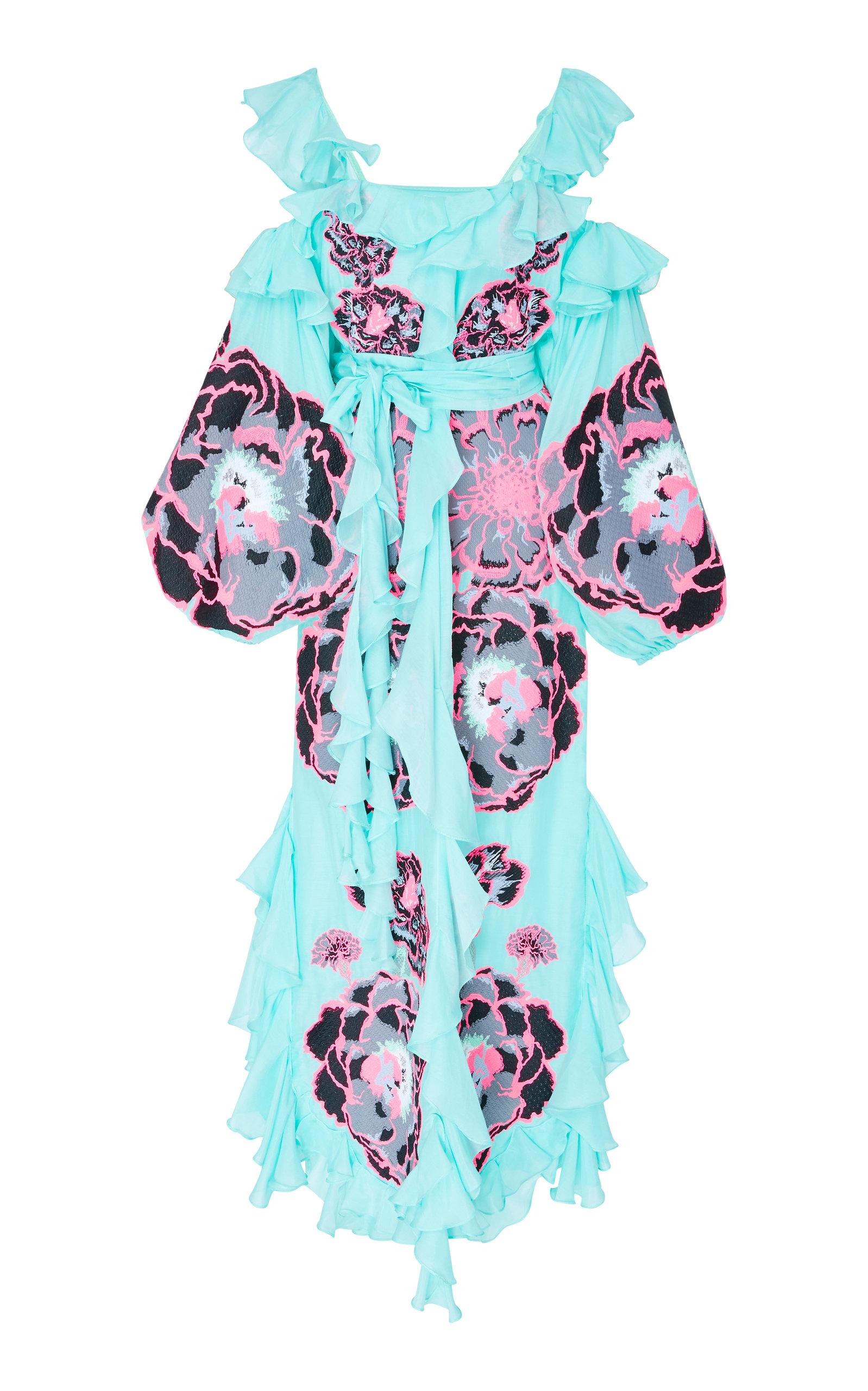 YULIYA MAGDYCH MARIGOLD EMBROIDERED RUFFLE COTTON DRESS