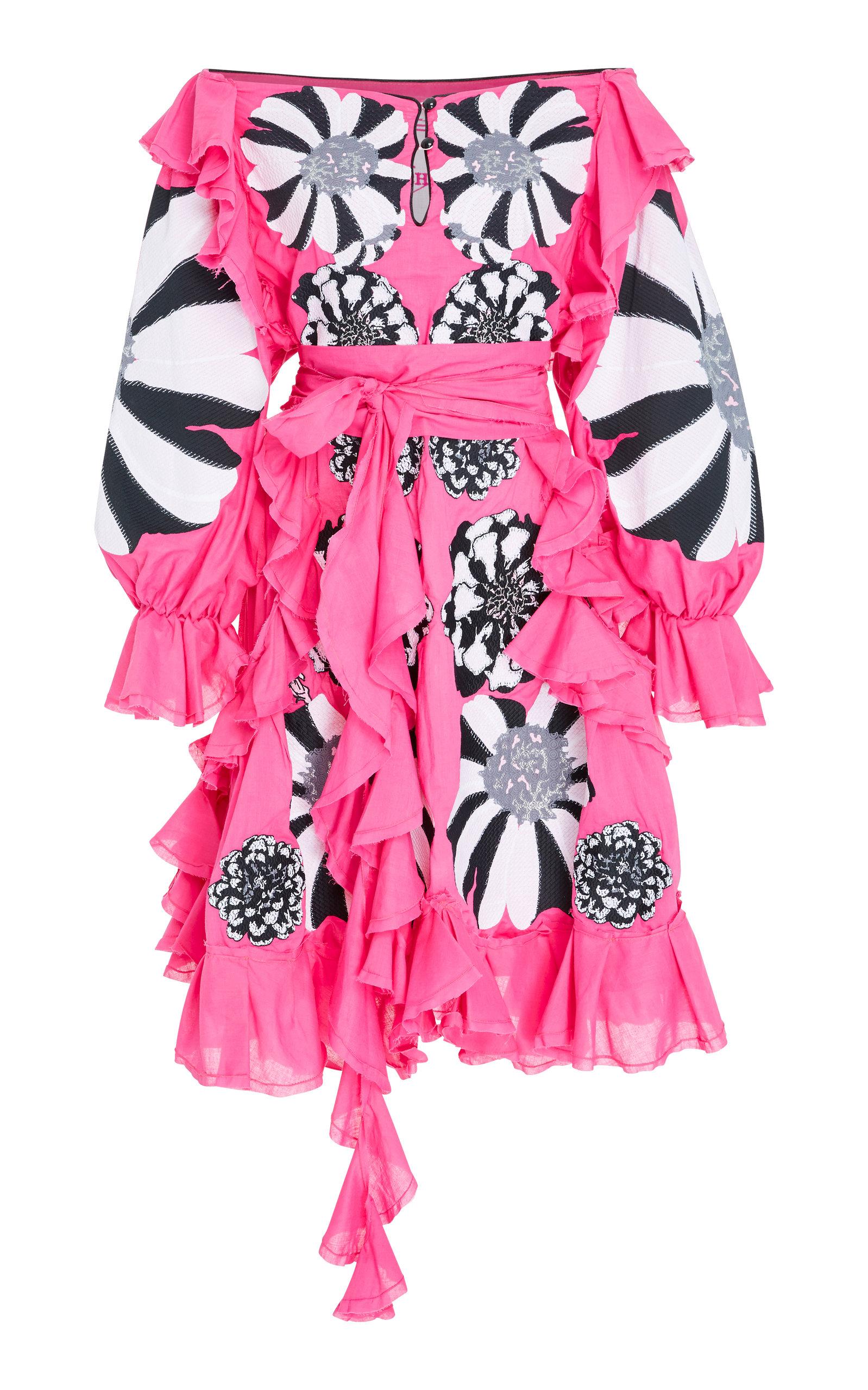 YULIYA MAGDYCH HYPNOZE EMBROIDERED RUFFLE COTTON DRESS