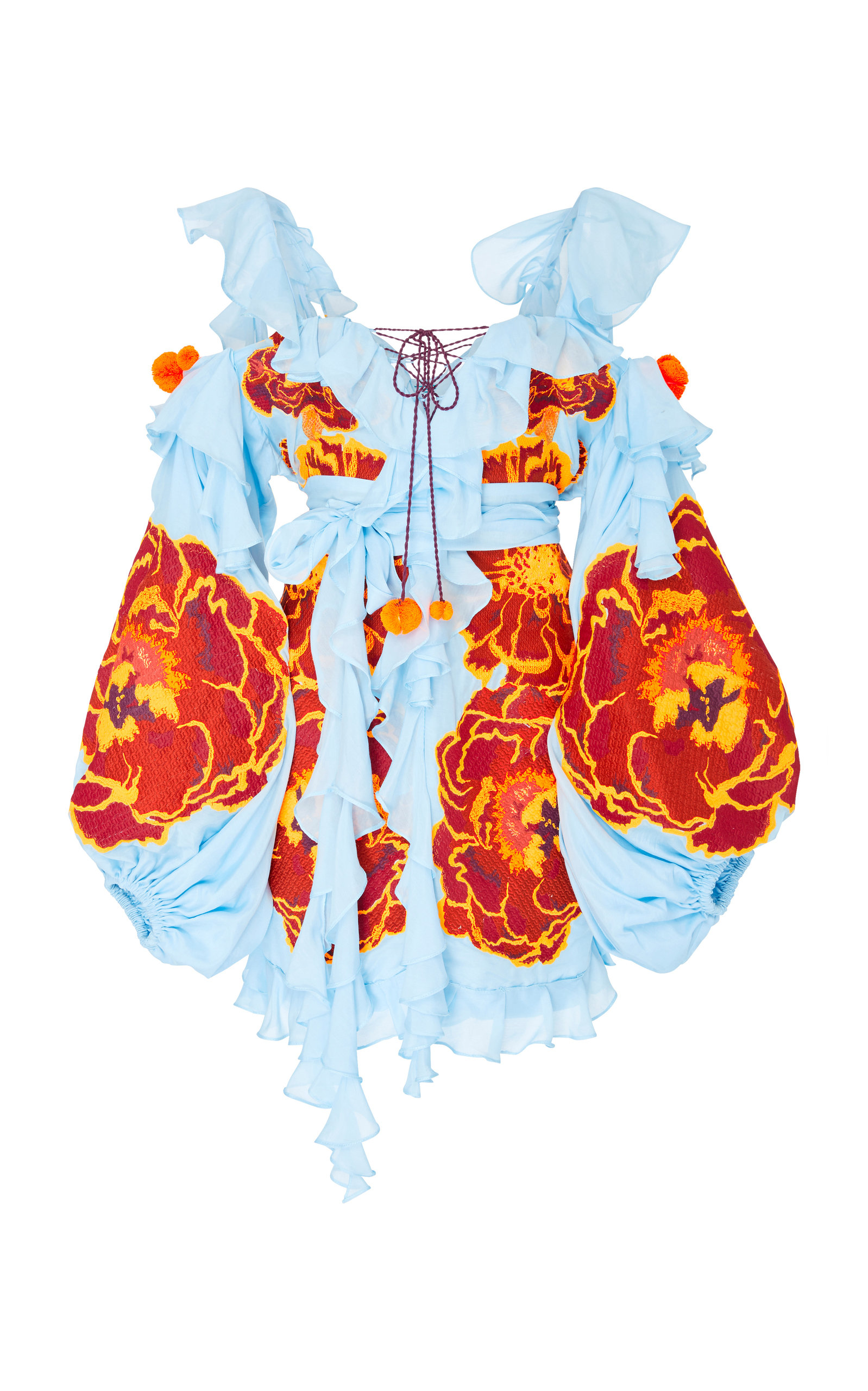 YULIYA MAGDYCH MARIGOLD EMBROIDERED COTTON AND SILK ROMPER