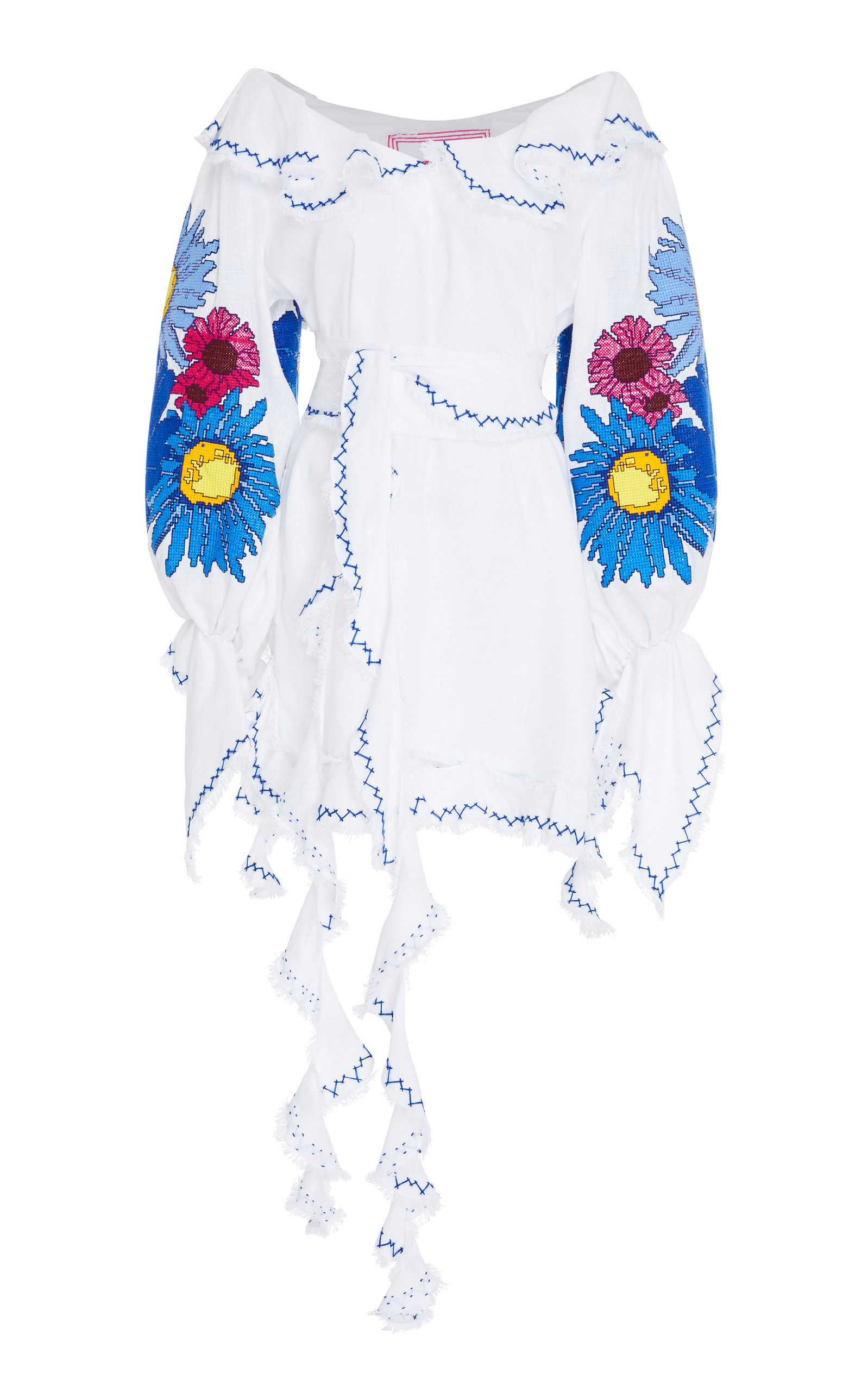 YULIYA MAGDYCH LOVES ME LOVES ME NOT EMBROIDERED LINEN APRON DRESS