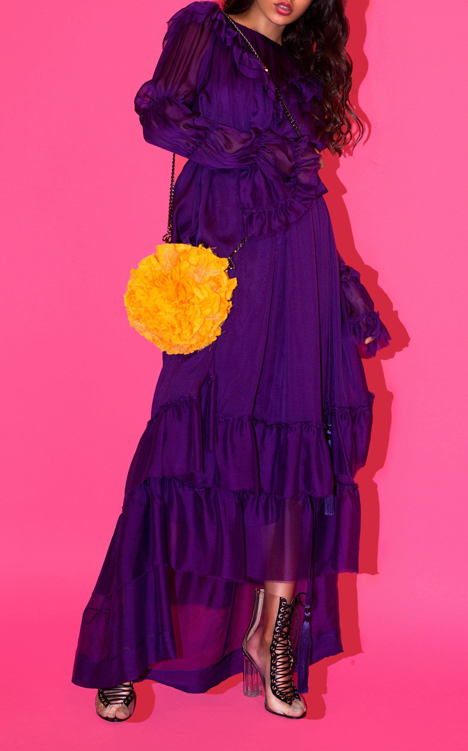 YULIYA MAGDYCH GRACE SILK RUFFLE DRESS
