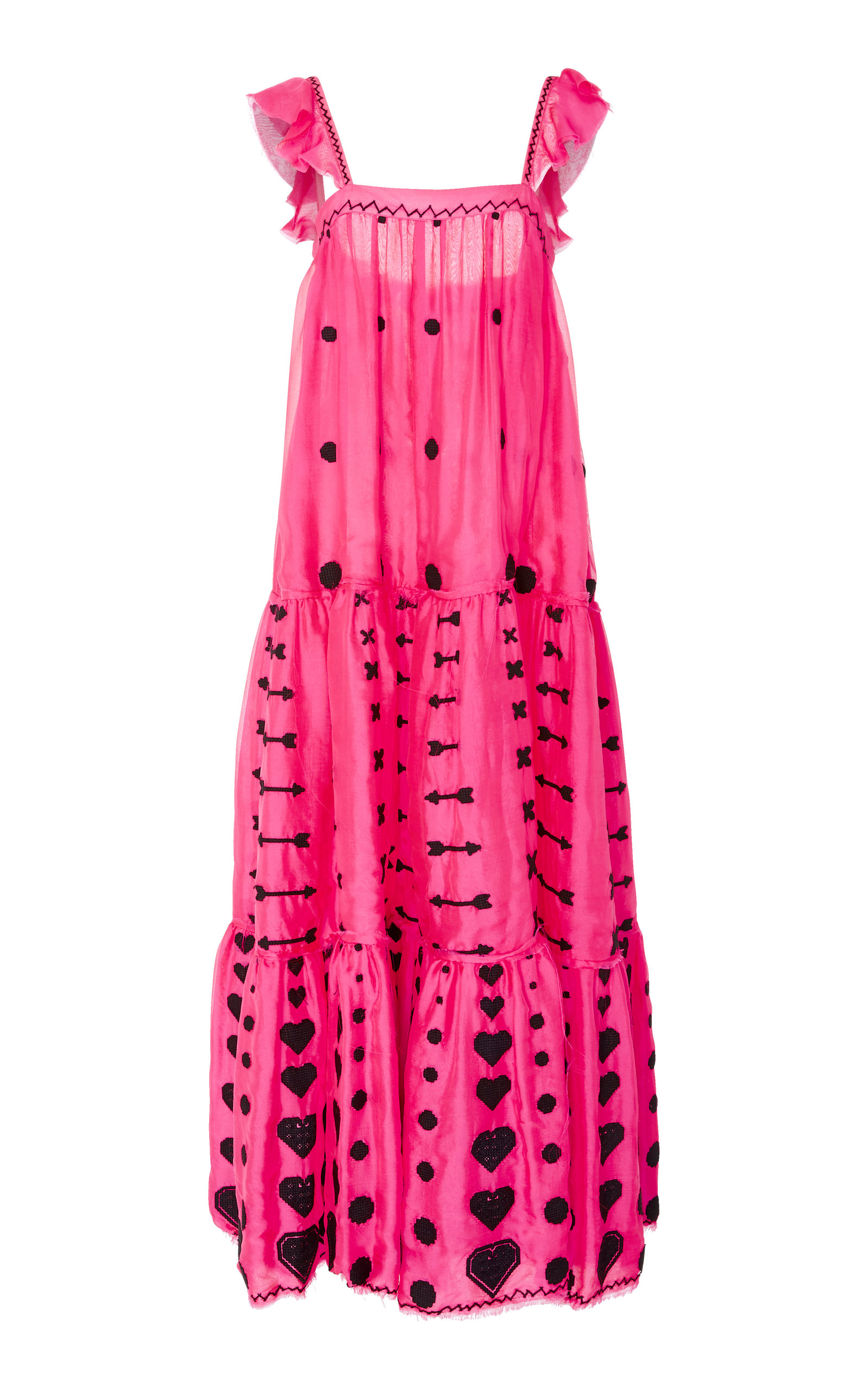 YULIYA MAGDYCH M'O EXCLUSIVE GRACE EMBROIDERED SILK MAXI DRESS