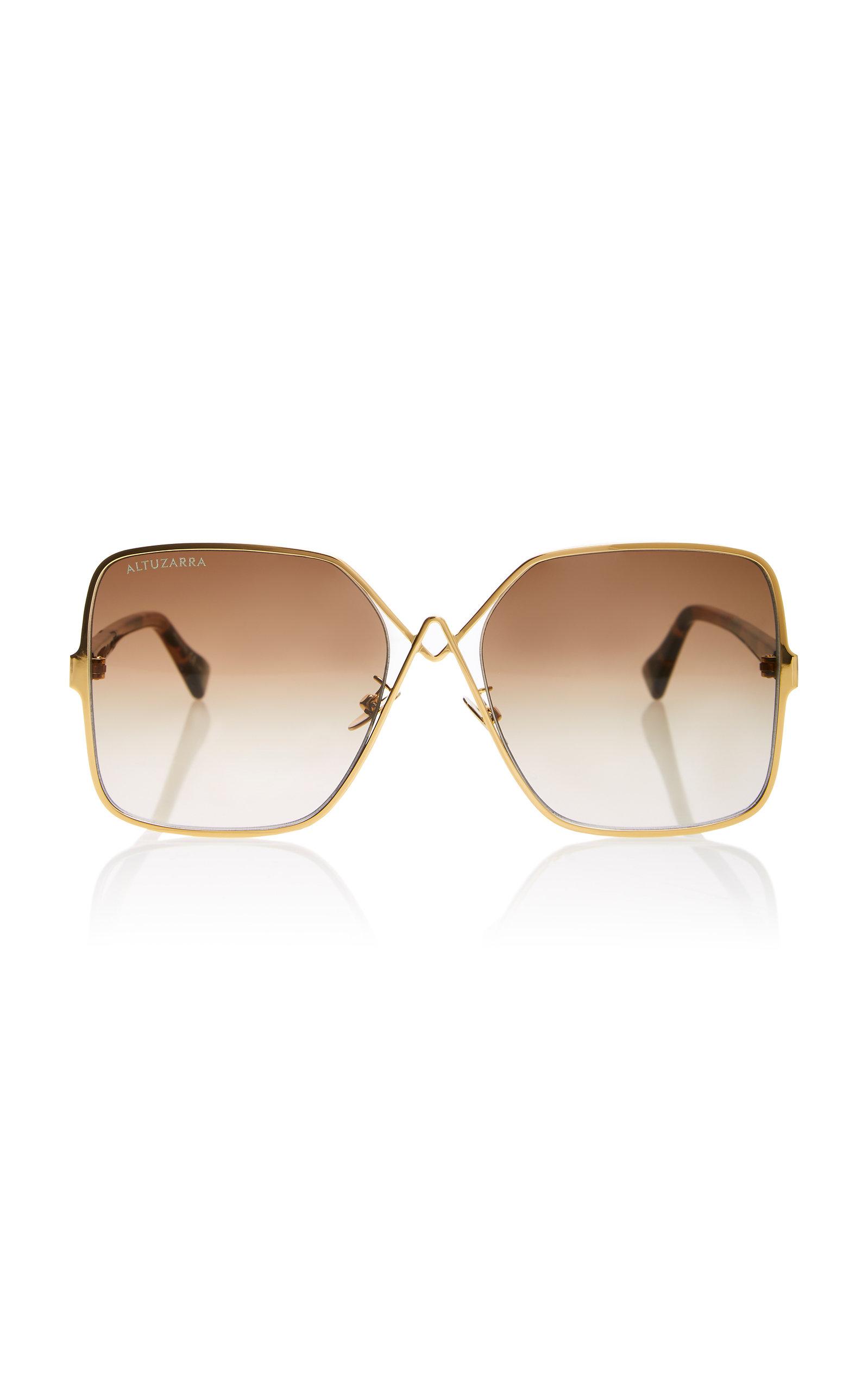 ALTUZARRA SUNGLASSES Oversized Square Sunglasses in Gold