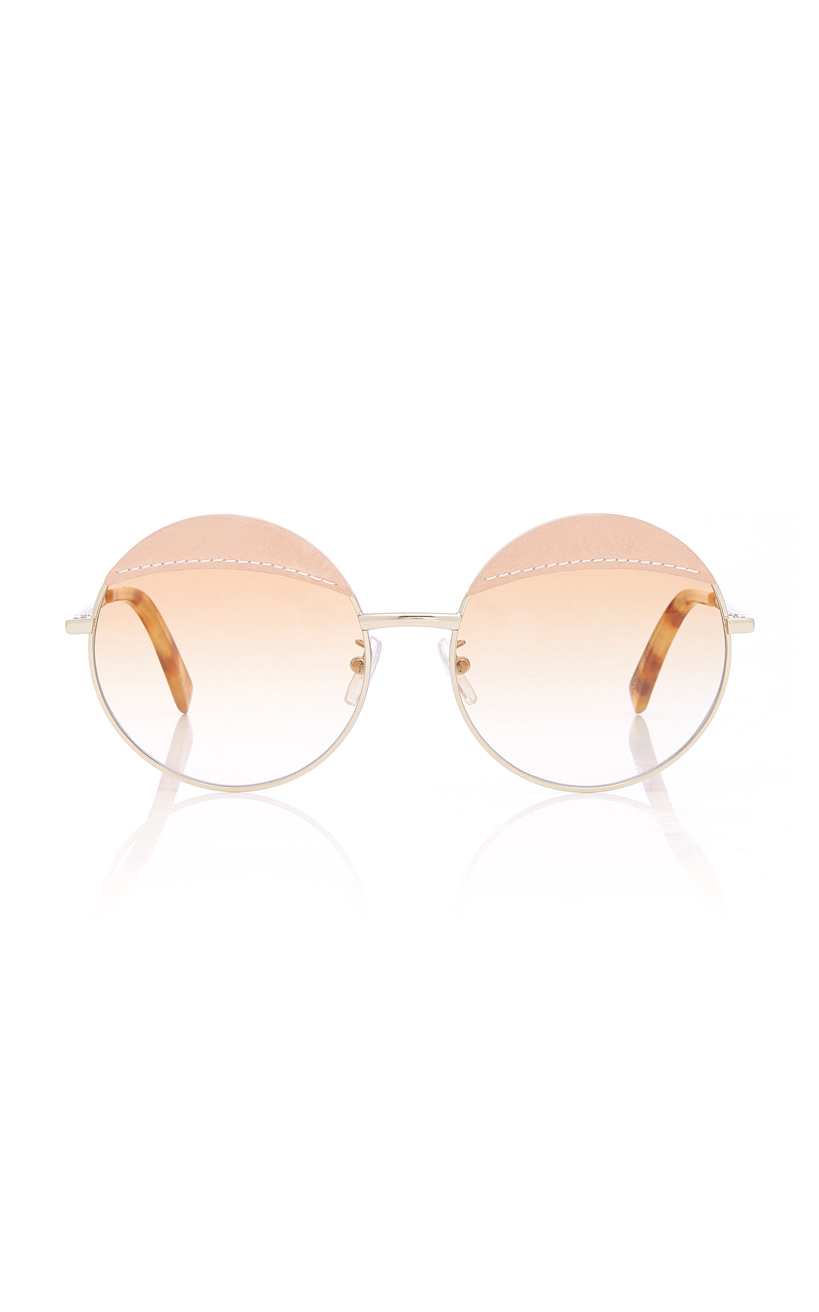 1f54ab59fa0fb Round Leather-Trimmed Metal Sunglasses by Loewe Sunglasses