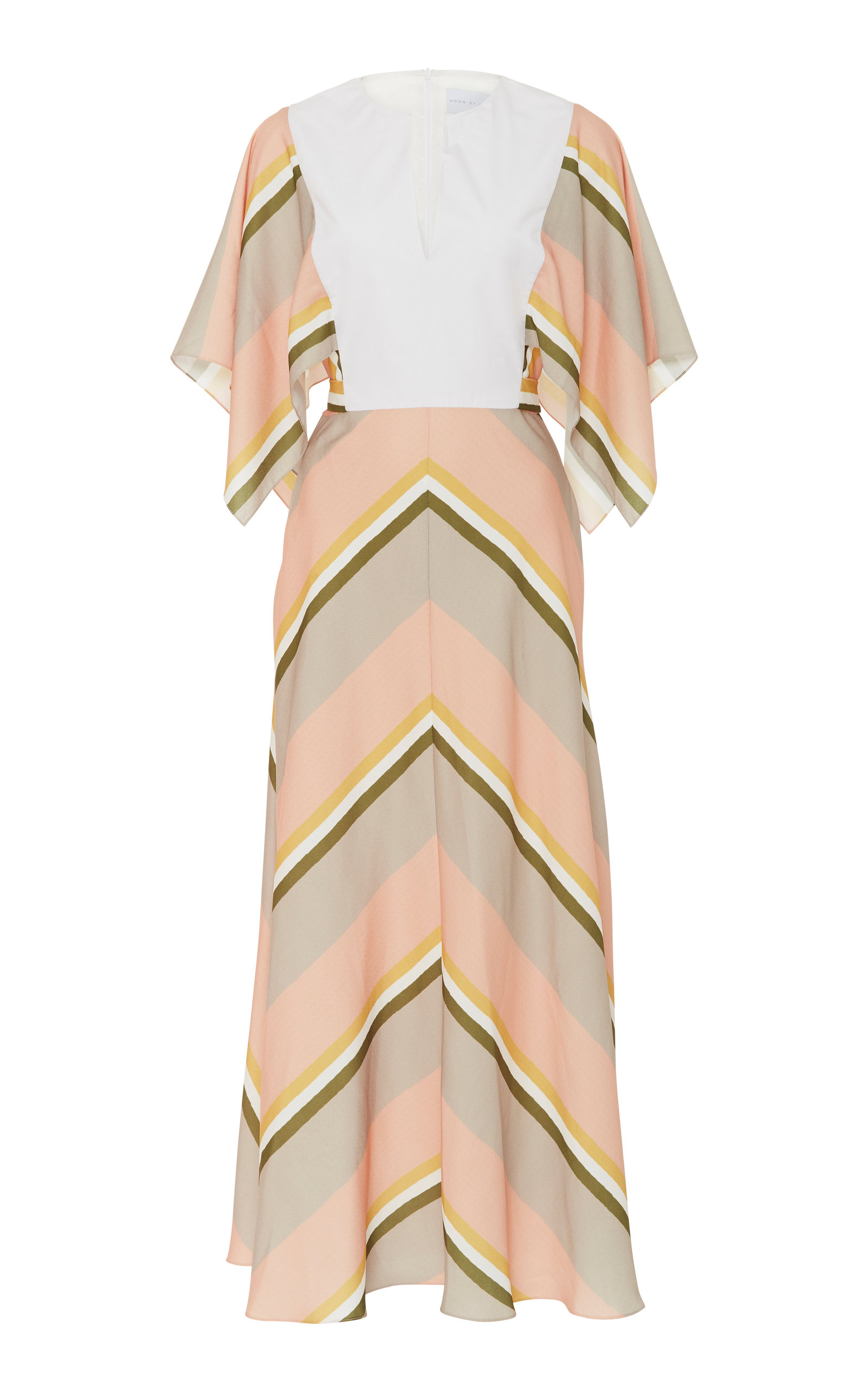 NOON BY NOOR TODD STRIPED MIDI DRESS