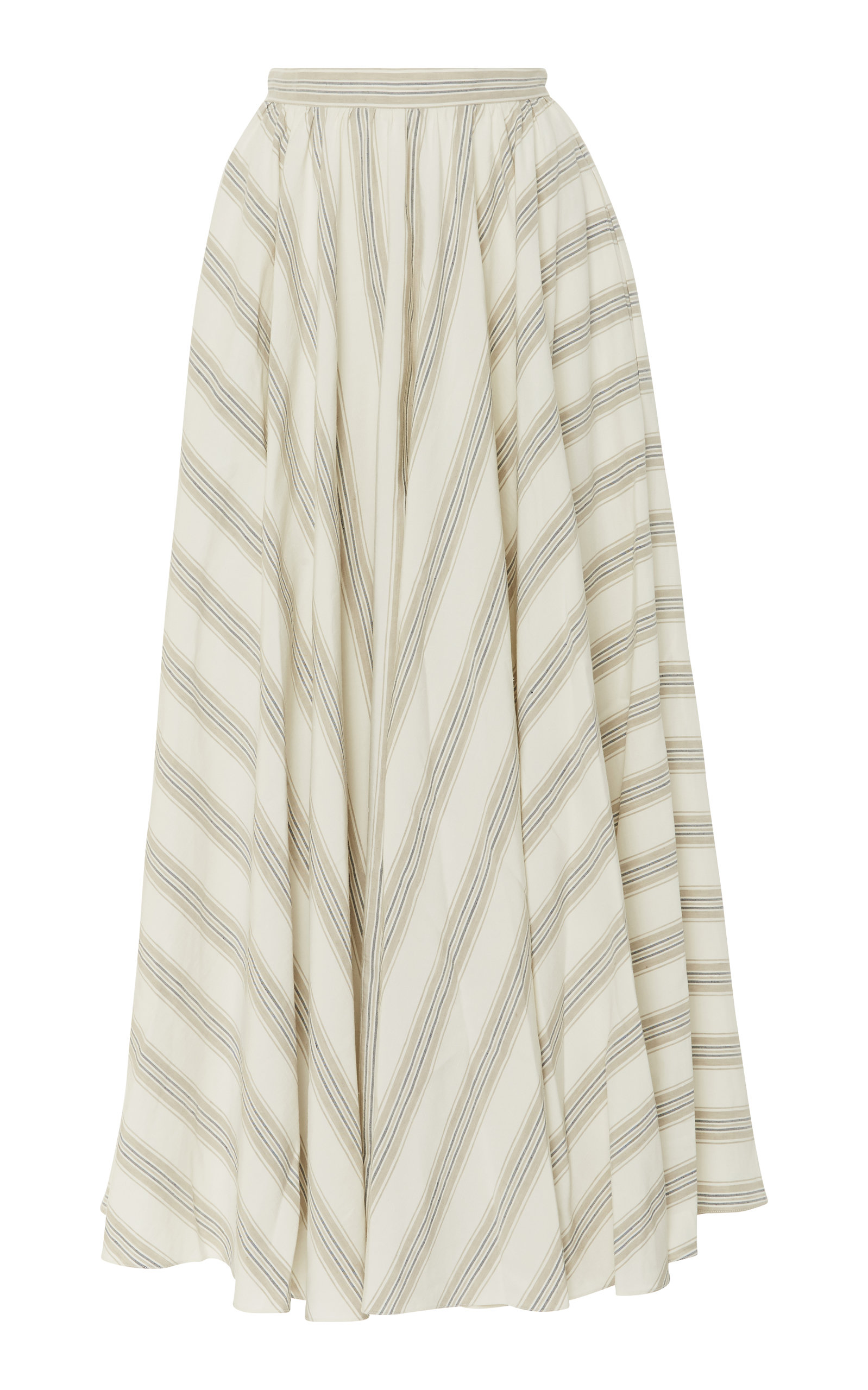 NOON BY NOOR LUTHER SILK BLEND STRIPED MAXI SKIRT