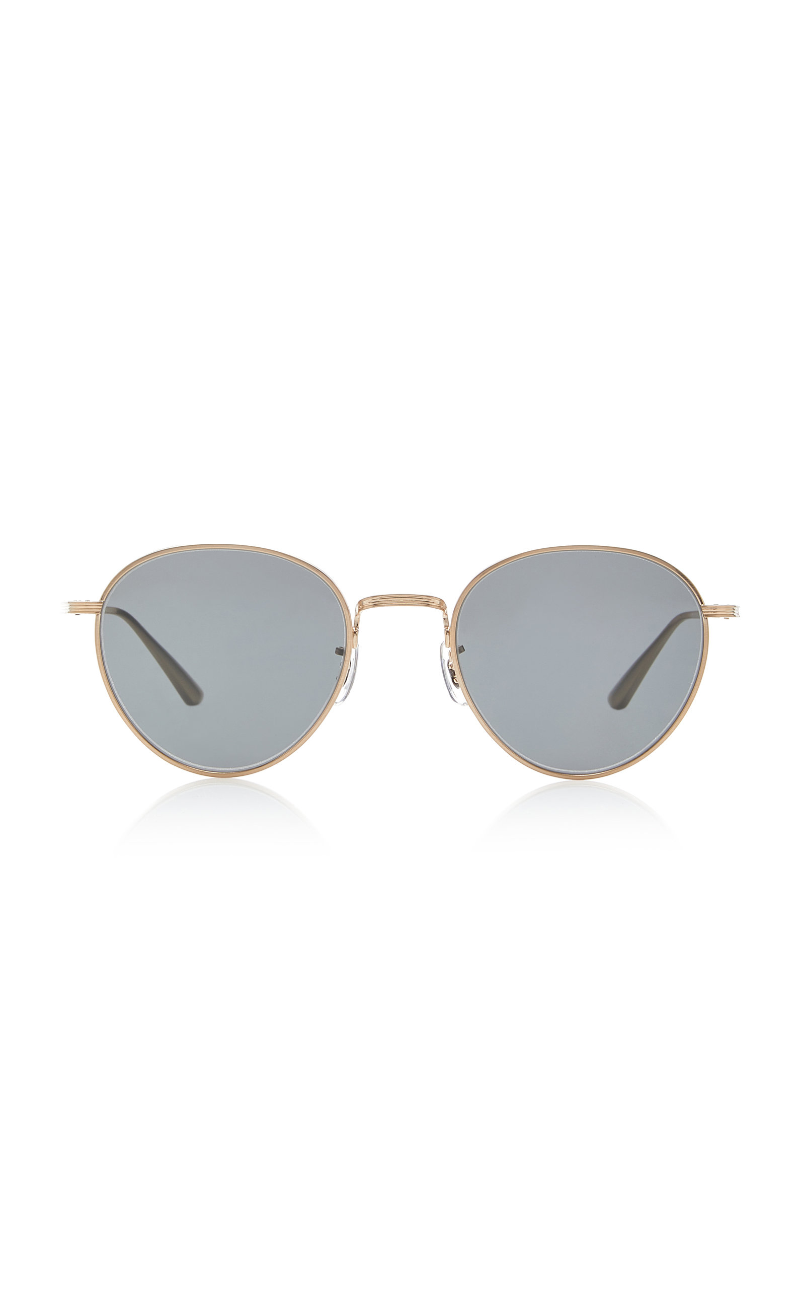 OLIVER PEOPLES X THE ROW | Oliver Peoples THE ROW Brownstone Round Metal Sunglasses | Goxip