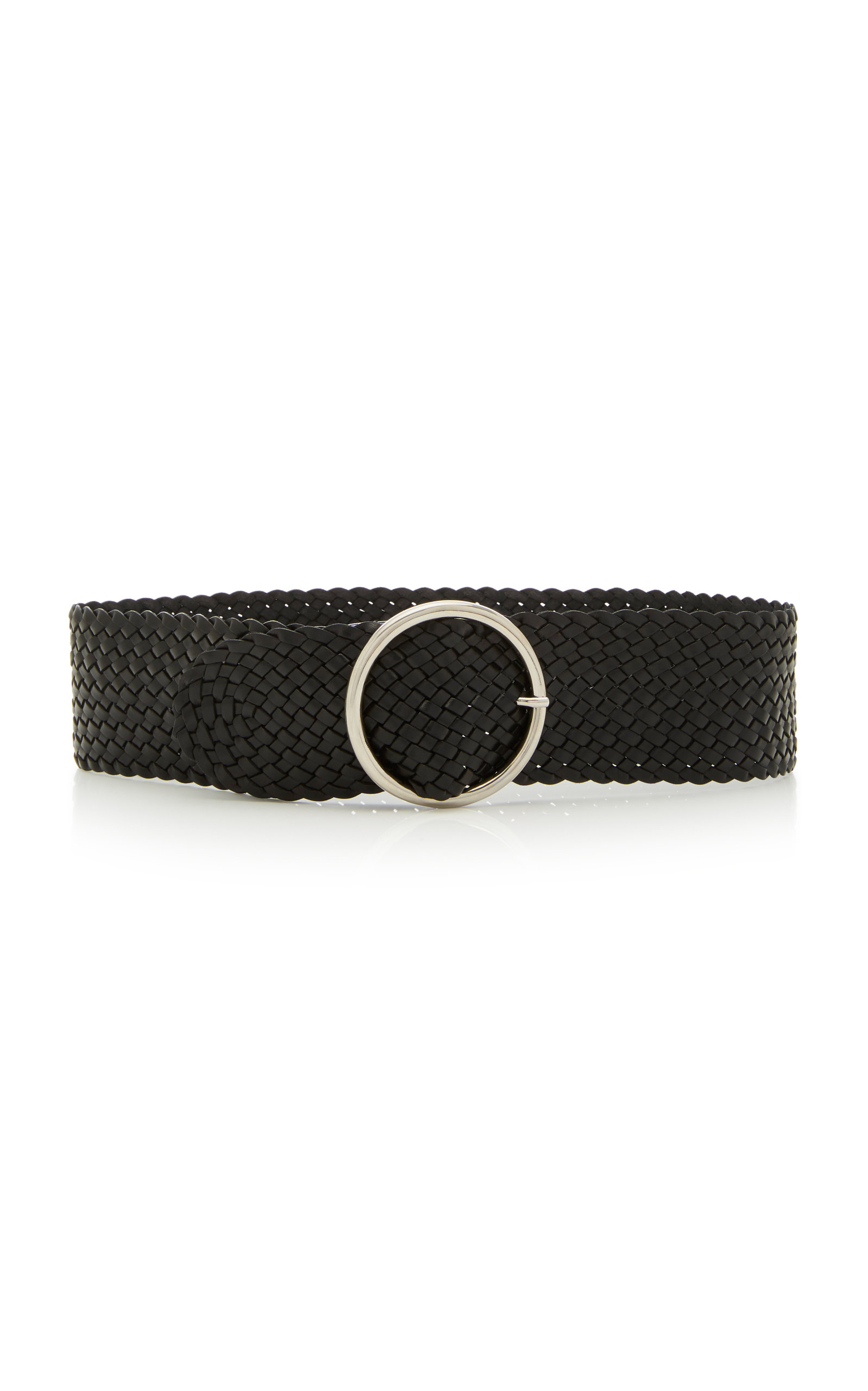 ANDERSON'S Woven Leather Belt in Black