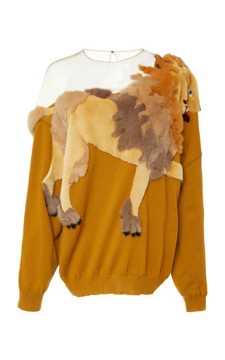 ALENA AKHMADULLINA   Alena Akhmadullina Lion Embroidered Cashmere Sweater   Goxip