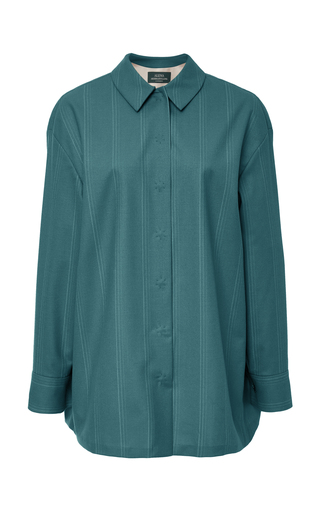 ALENA AKHMADULLINA   Alena Akhmadullina Stripe Collared Wool Shirt   Goxip