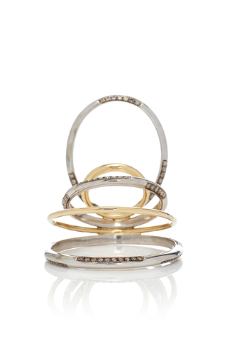 GAELLE KHOURI   Gaelle Khouri Twisted Parallel 18K Gold And Sterling Silver Ring   Goxip