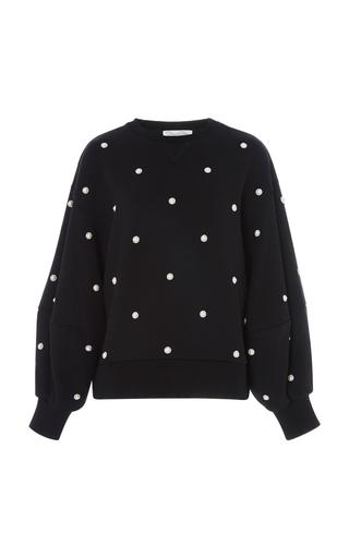 OSCAR DE LA RENTA | Oscar de la Renta Faux Pearl-Embellished Cotton-Jersey Sweatshirt | Goxip