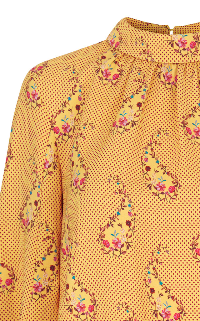 STINE GOYA EVA PRINTED CREW NECK TOP, YELLOW