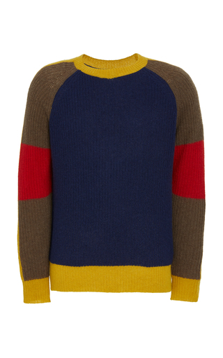 TEMPUS NOW | Tempus Now Colorblocked Cashmere-Wool Fisherman Sweater | Goxip