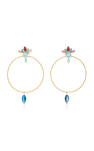 CAROLINA NEVES | Carolina Neves 18K Gold Multi-Stone Hoop Earrings | Goxip