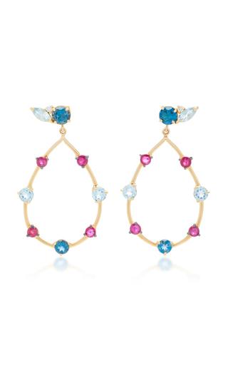 CAROLINA NEVES   Carolina Neves 18K Gold Multi-Stone Earrings   Goxip