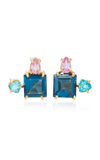 CAROLINA NEVES | Carolina Neves 18K Gold Blue Topaz Sapphire And Apatite Earrings | Goxip