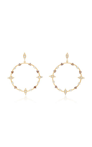 CAROLINA NEVES   Carolina Neves 18K Gold Diamond Hoop Earrings   Goxip