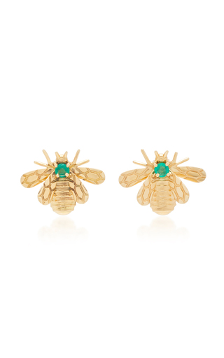 CAROLINA NEVES | Carolina Neves 18K Gold Emerald Earrings | Goxip