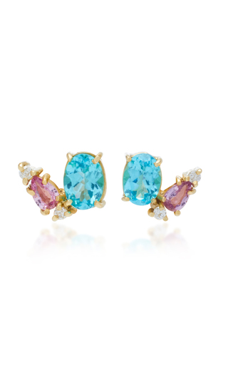 CAROLINA NEVES | Carolina Neves 18K Gold Apatite Sapphire And Diamond Earrings | Goxip
