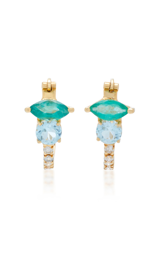 CAROLINA NEVES | Carolina Neves 18K Gold Blue Topaz Emerald And Diamond Earrings | Goxip