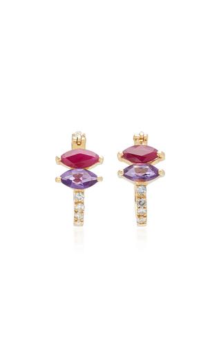 CAROLINA NEVES   Carolina Neves 18K White Gold Amethyst Ruby And Diamond Earrings   Goxip