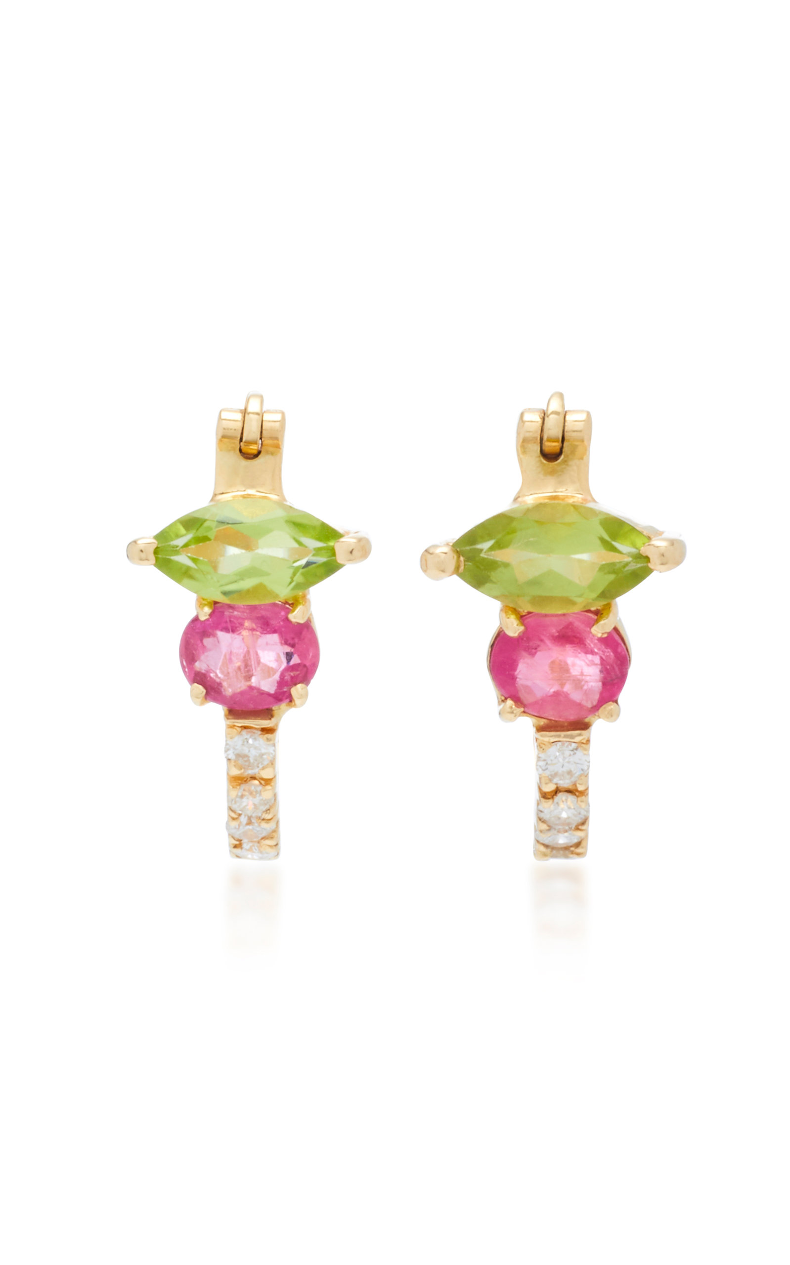 Peridot Rubellite And Diamond Earrings Close Loading