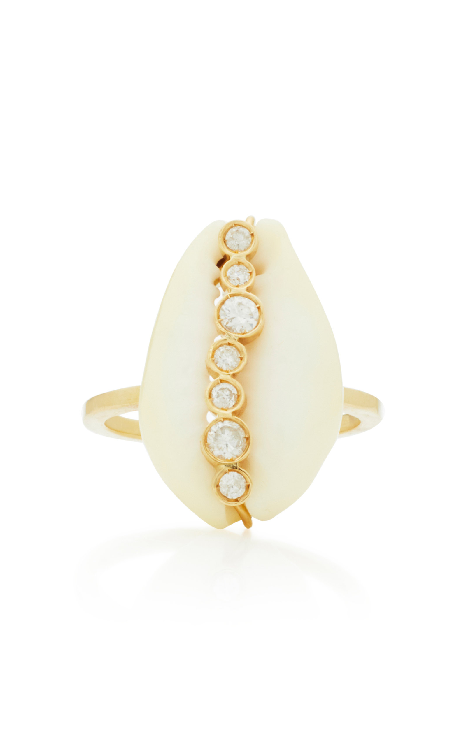 ARON & HIRSCH Hamar 18K Gold Shell And Diamond Ring