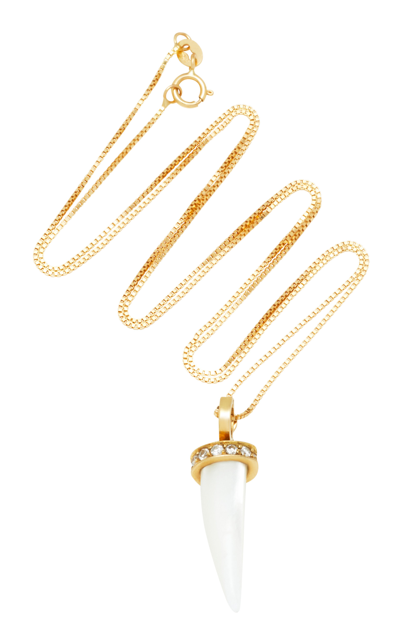 ARON & HIRSCH Mursi 18K Gold Resin And Diamond Necklace in White