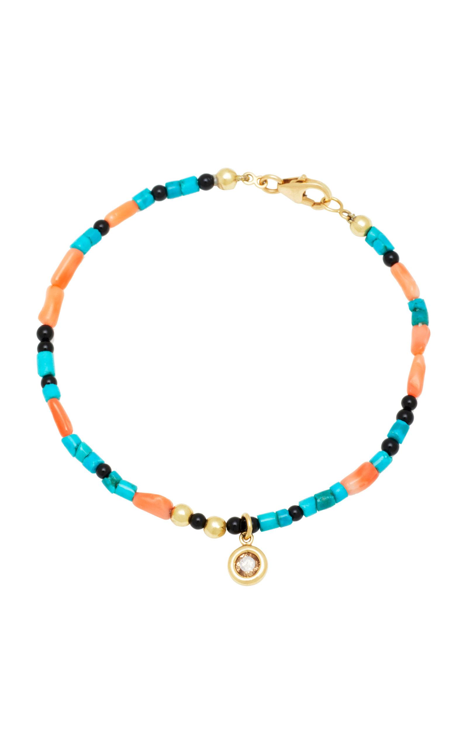 ARON & HIRSCH Surma 18K Gold Agate Bead And Diamond Bracelet in Multi