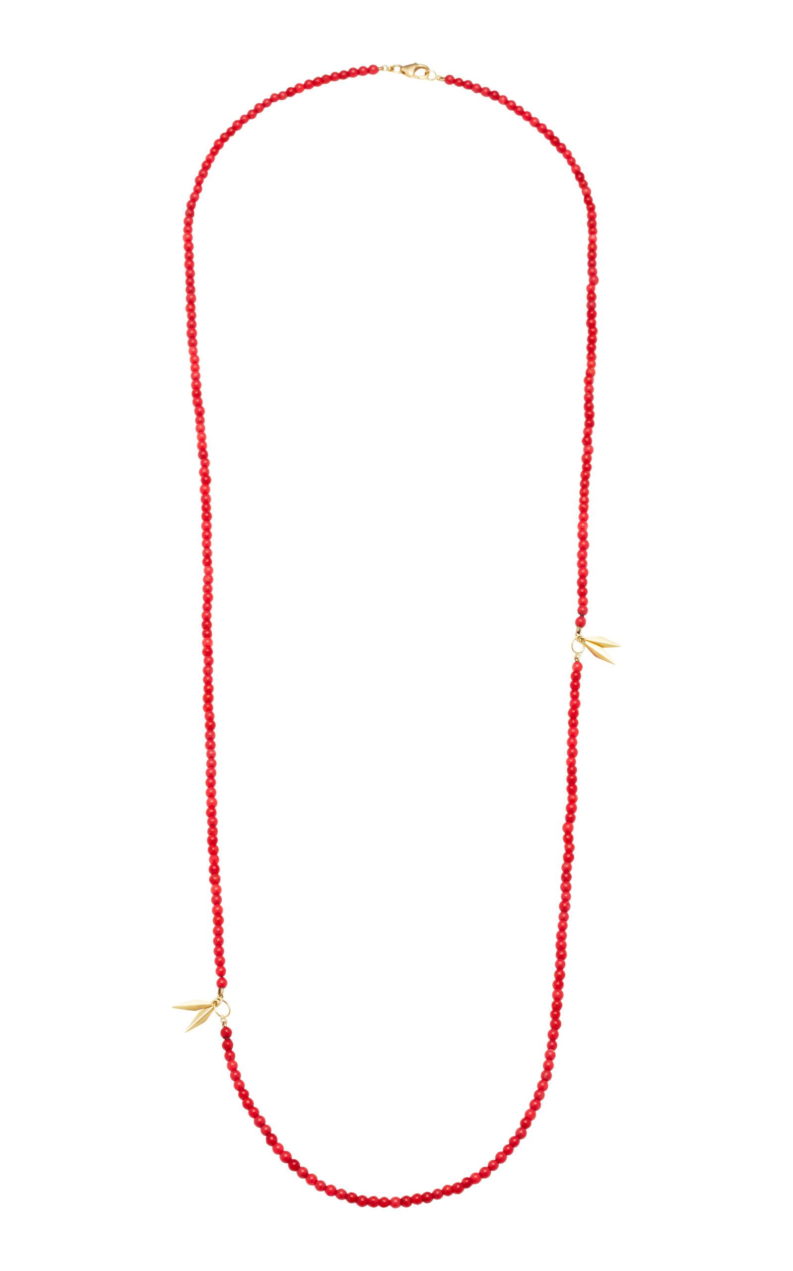 ARON & HIRSCH Karo 18K Gold Agate Necklace in Red