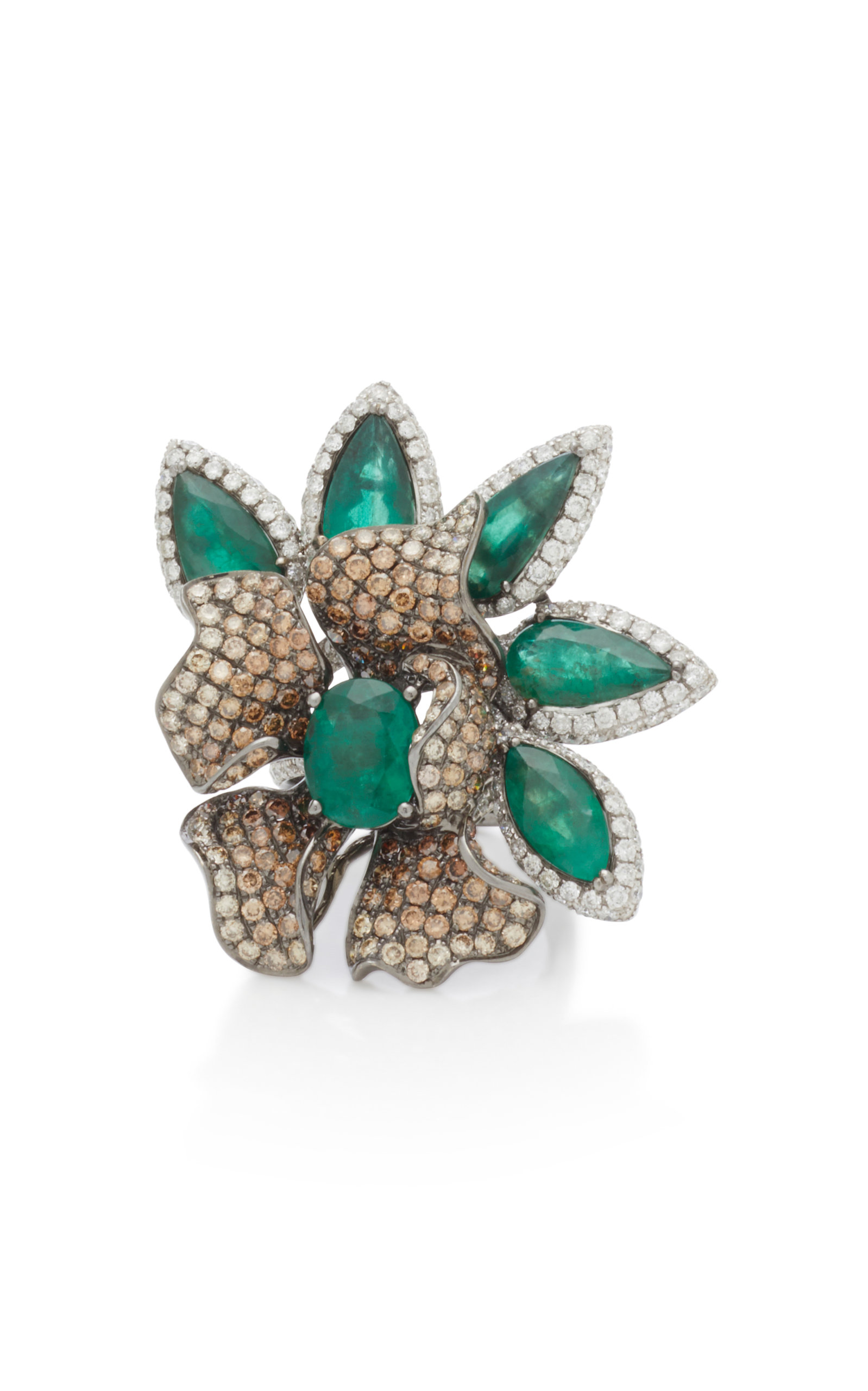 WENDY YUE 18K White Gold Emerald And Diamond Ring in Green