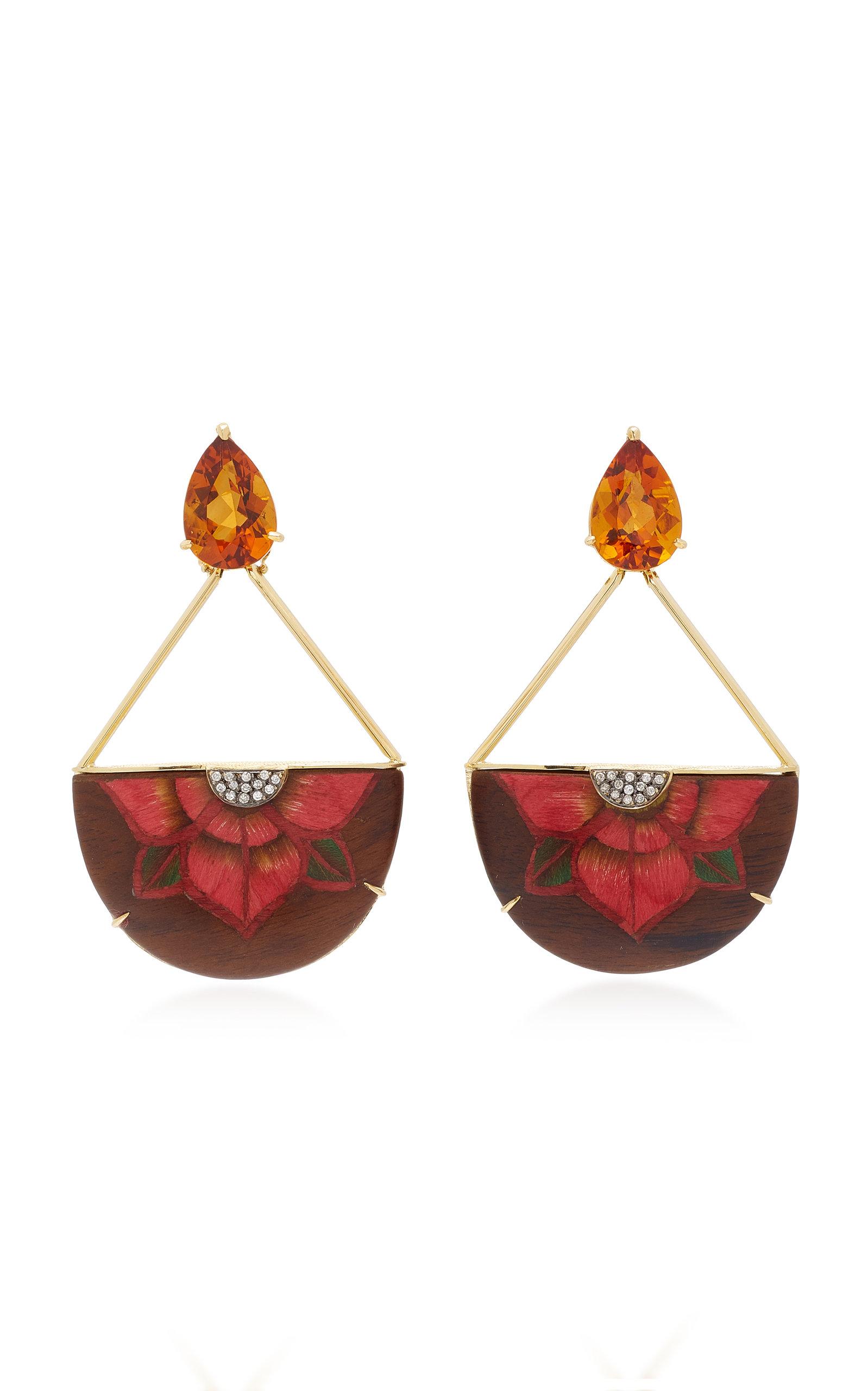 SILVIA FURMANOVICH 18K Gold Resin Citrine And Diamond Earrings in Red