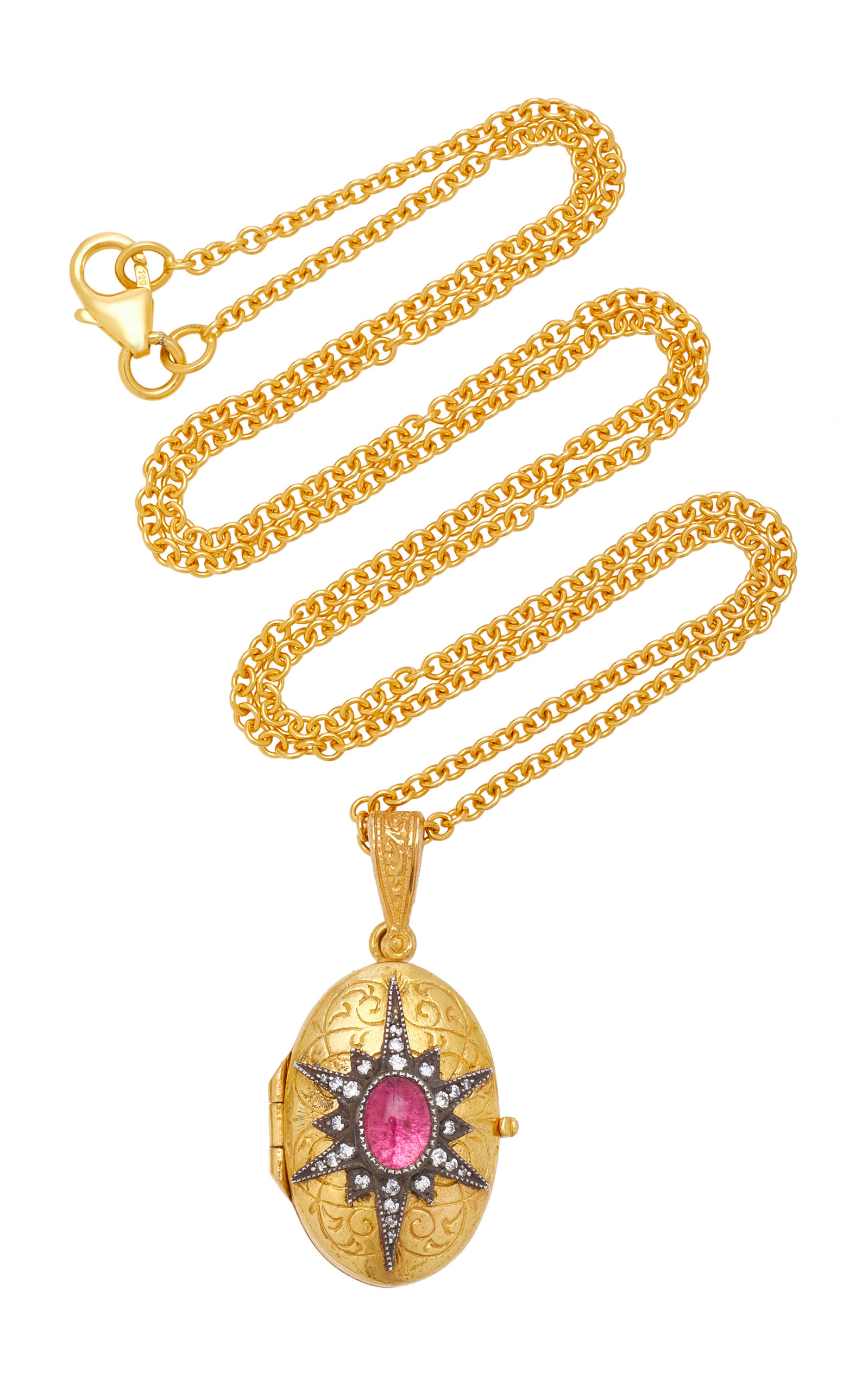 ARMAN SARKISYAN 22K Gold Pink Tourmaline And Diamond Necklace in Red