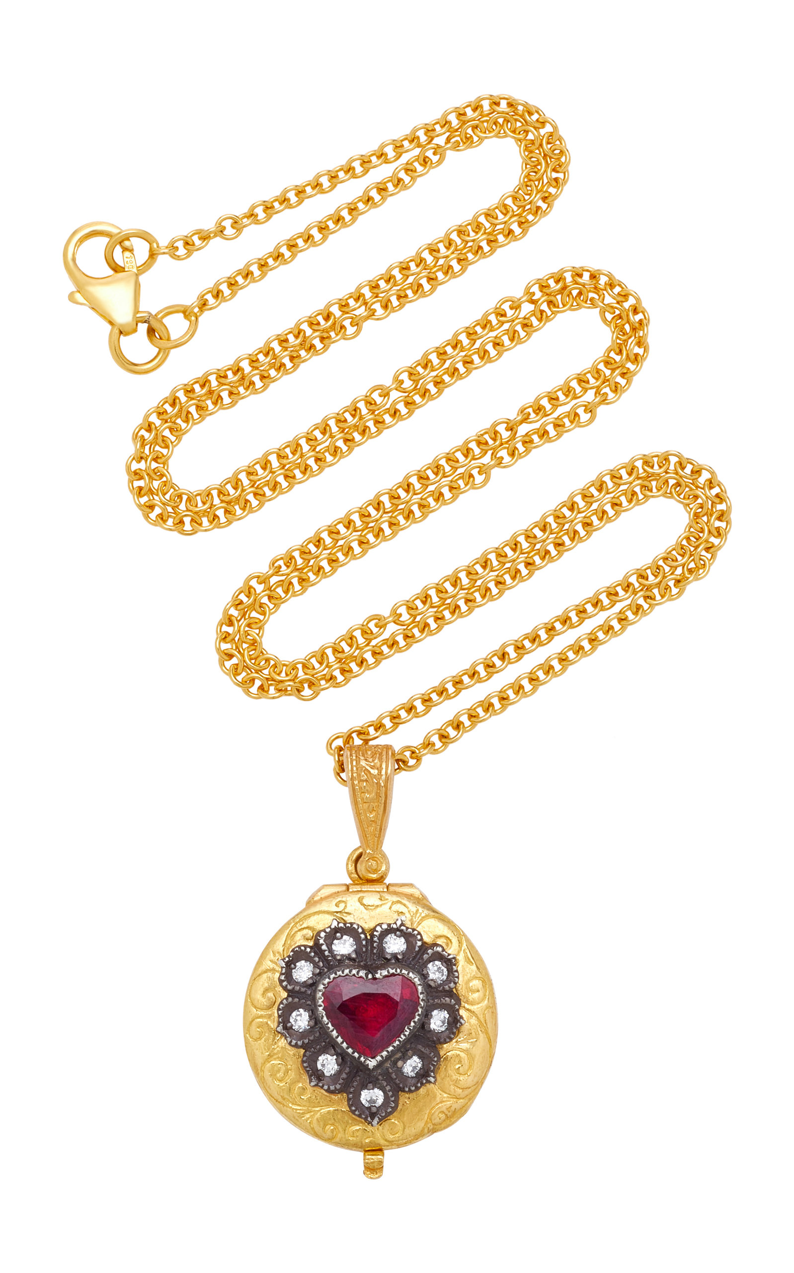 ARMAN SARKISYAN 22K Gold Ruby And Diamond Necklace in Red