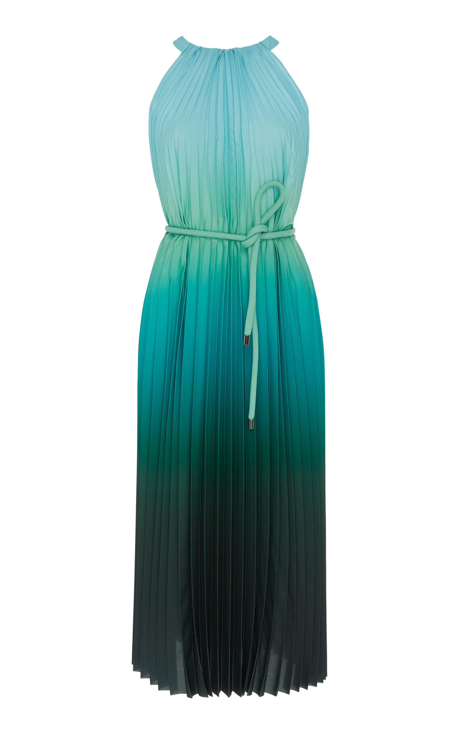 Max Mara Dresses PLEATED HALTER-NECK CHIFFON KNEE-LENGTH DRESS