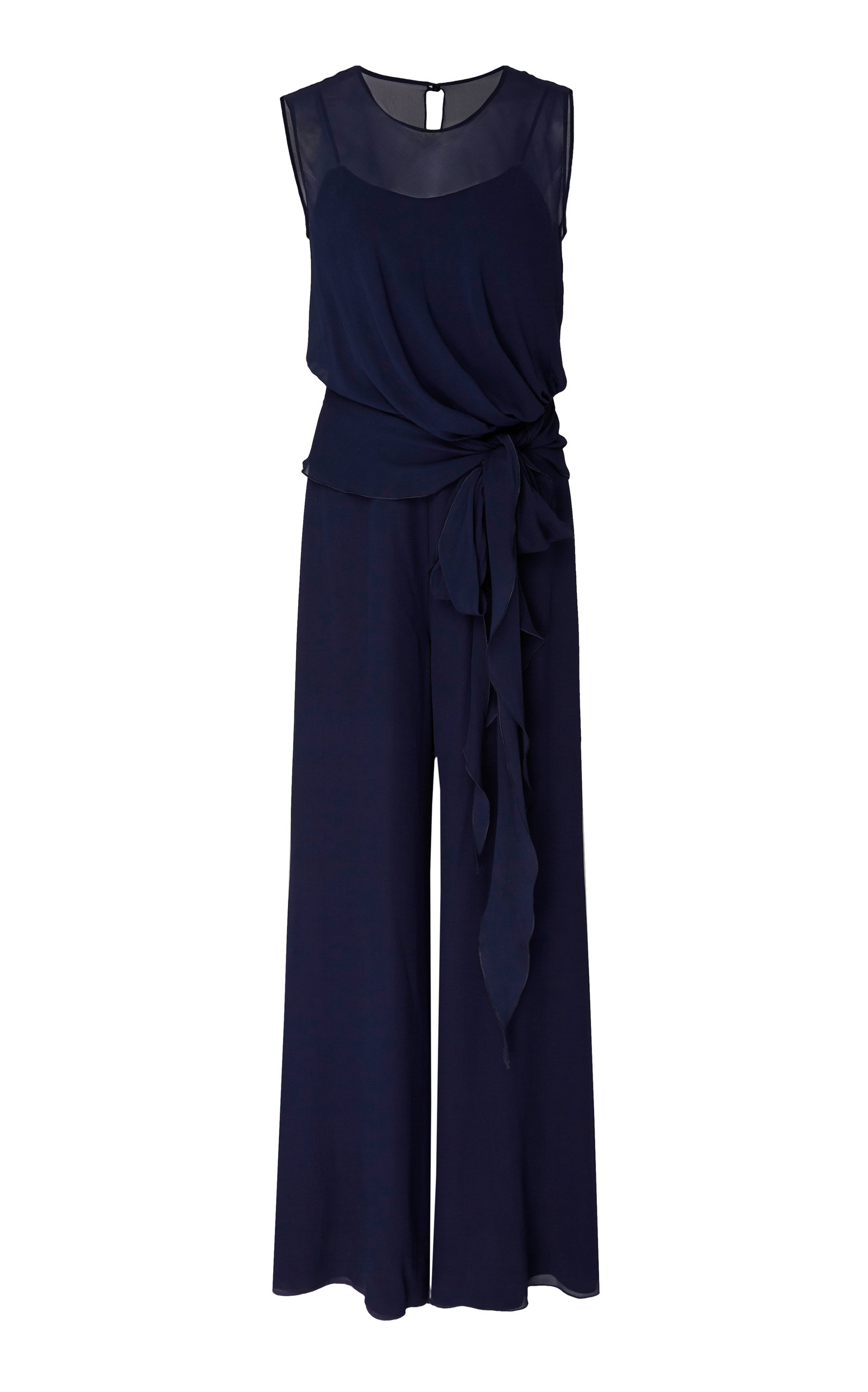 Max Mara Suits DRAPED WIDE-LEG SILK JUMPSUIT