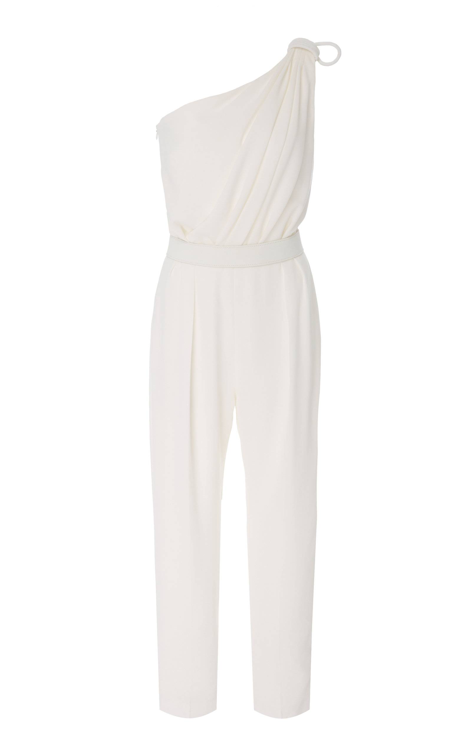 6796dc8f6fd Max Mara One-Shoulder Cropped Jersey Jumpsuit In White