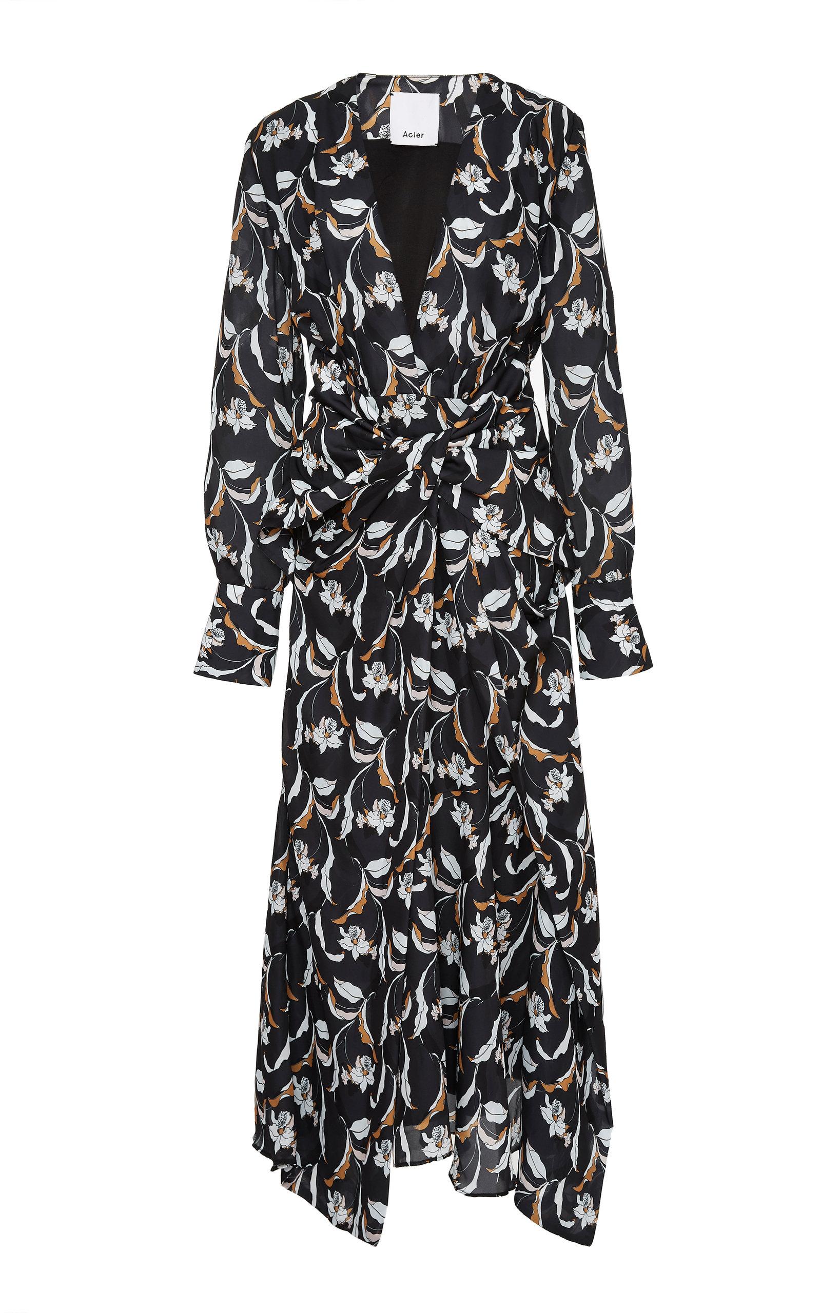 Acler GARBER FLORAL-PRINT CREPE MAXI DRESS