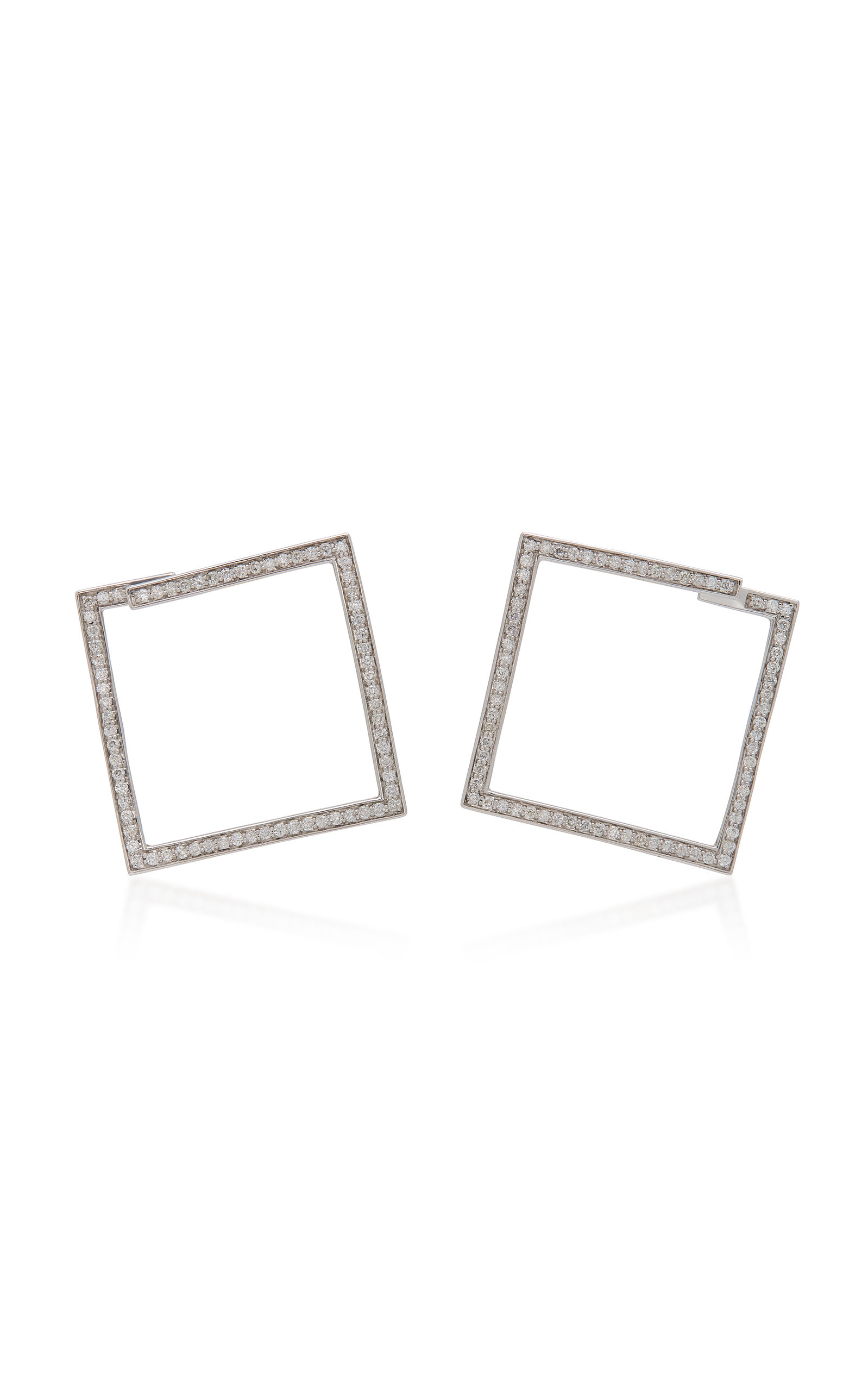 LYNN BAN JEWELRY Rhodium-Plated Silver Diamond Hoop Earrings