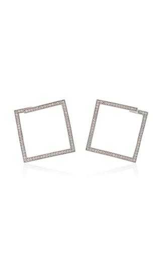 LYNN BAN JEWELRY   Lynn Ban Jewelry Rhodium-Plated Silver Diamond Hoop Earrings   Goxip