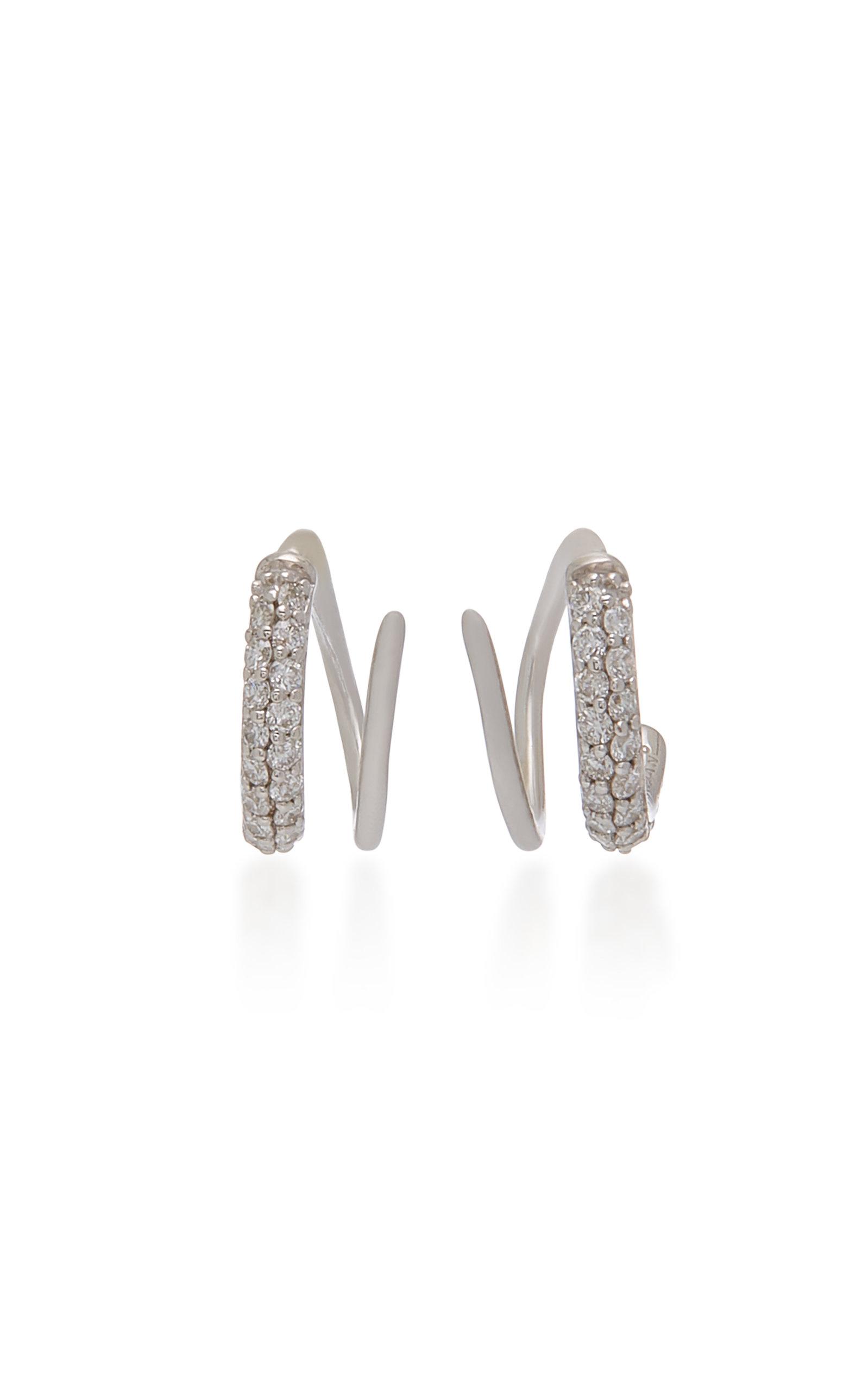LYNN BAN JEWELRY Sterling Silver Pavé Diamond Earrings