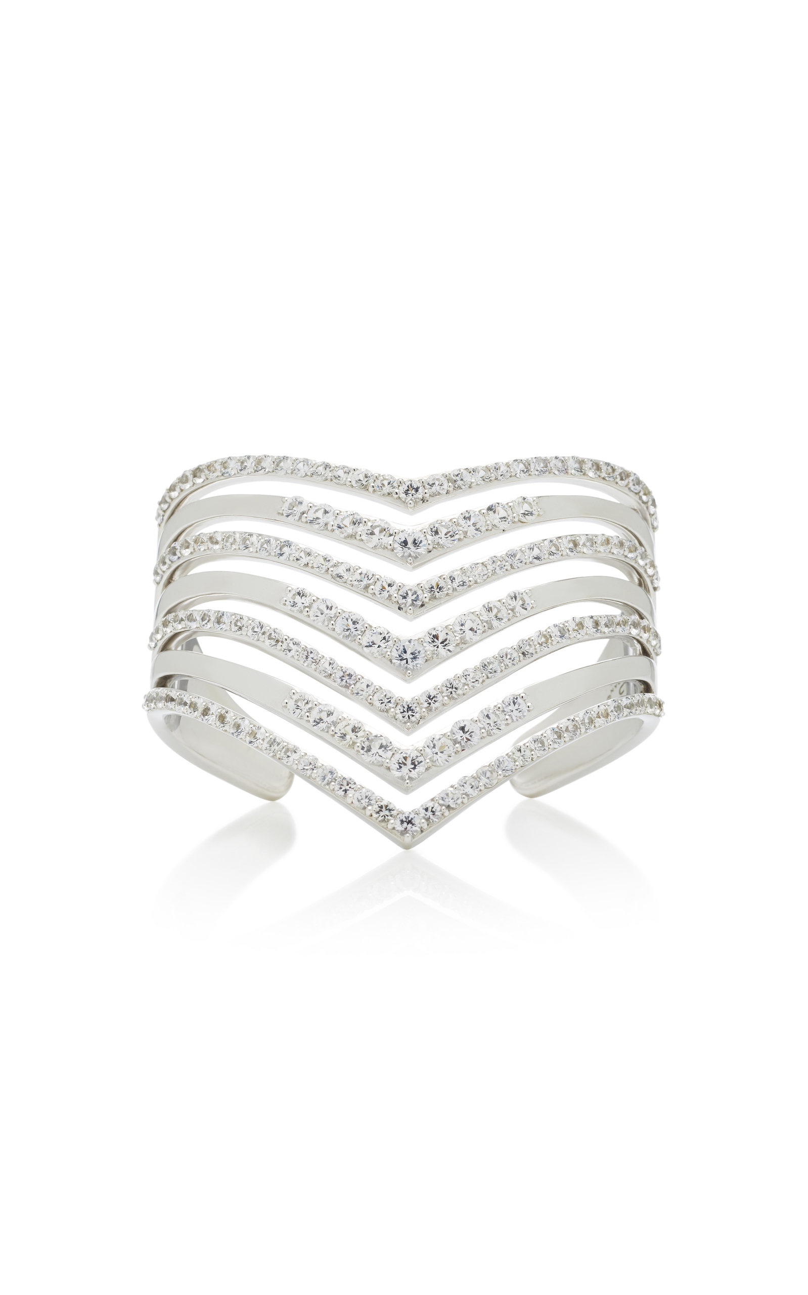 LYNN BAN JEWELRY Sterling Silver White Sapphire Cuff