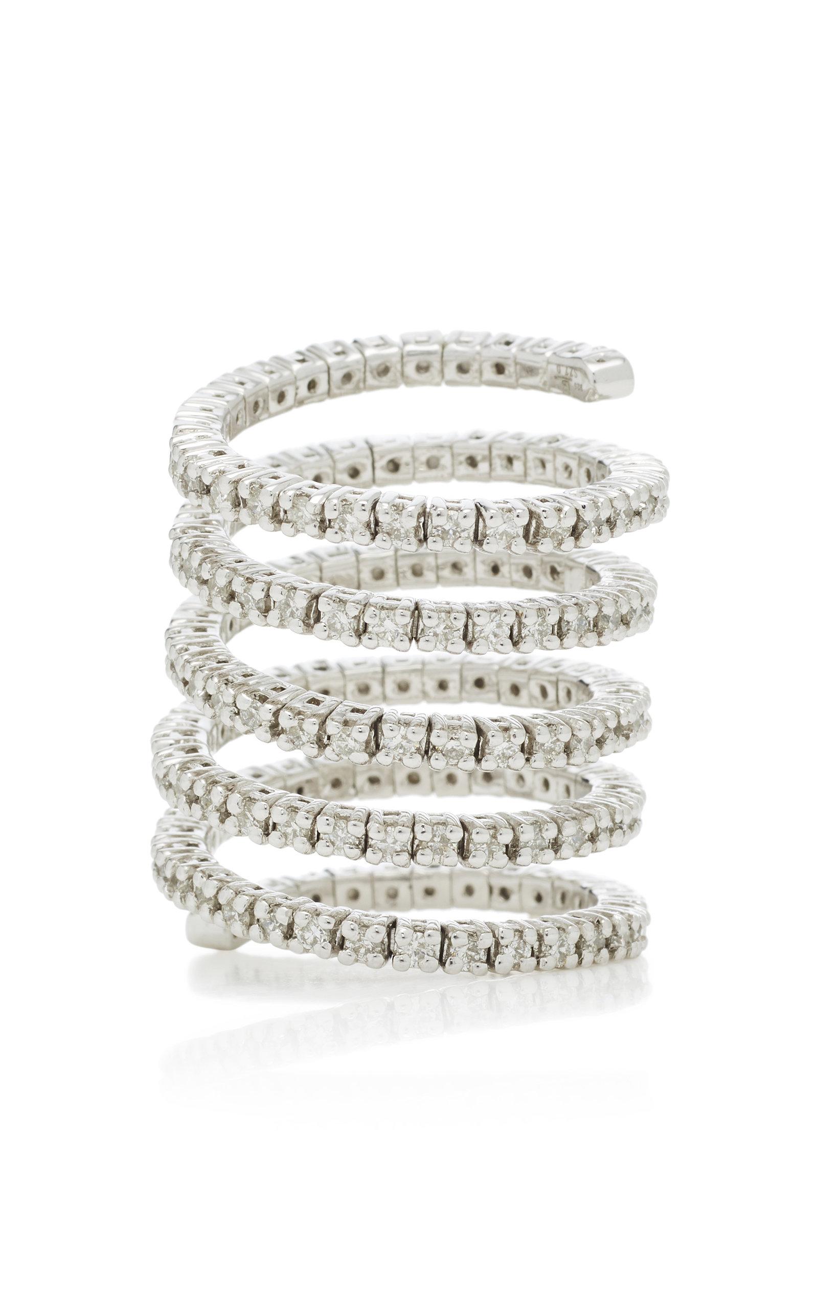 LYNN BAN JEWELRY Vortex Diamond Ring in Silver